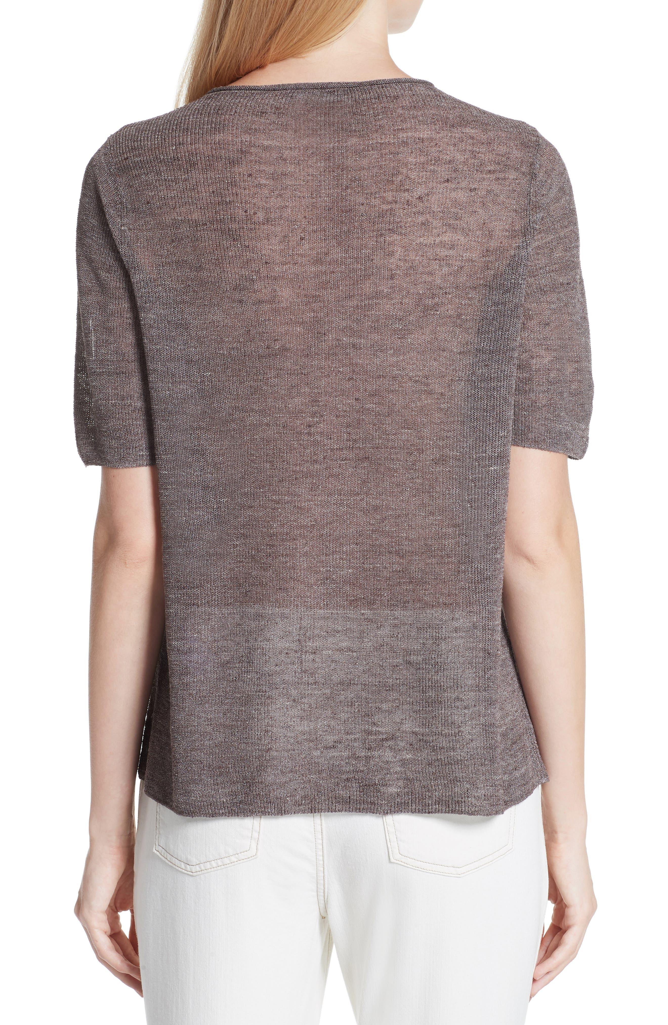 Short Sleeve Linen Blend Sweater,                             Alternate thumbnail 2, color,                             Rye