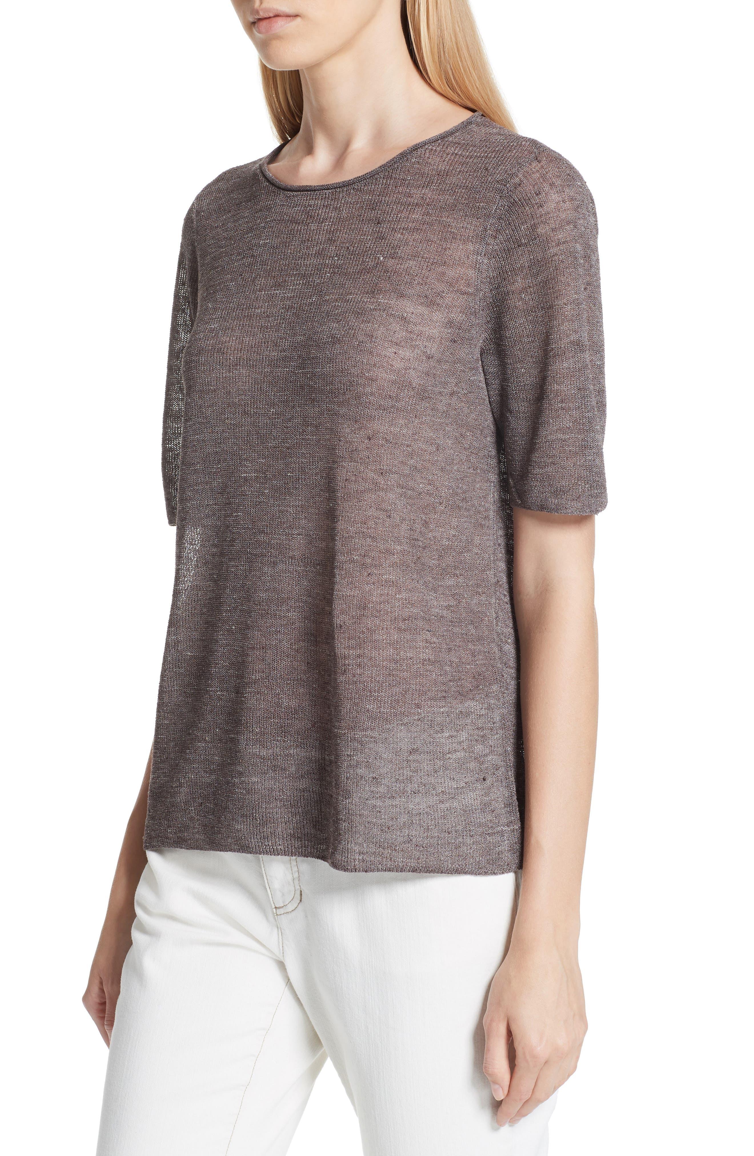 Short Sleeve Linen Blend Sweater,                             Alternate thumbnail 4, color,                             Rye