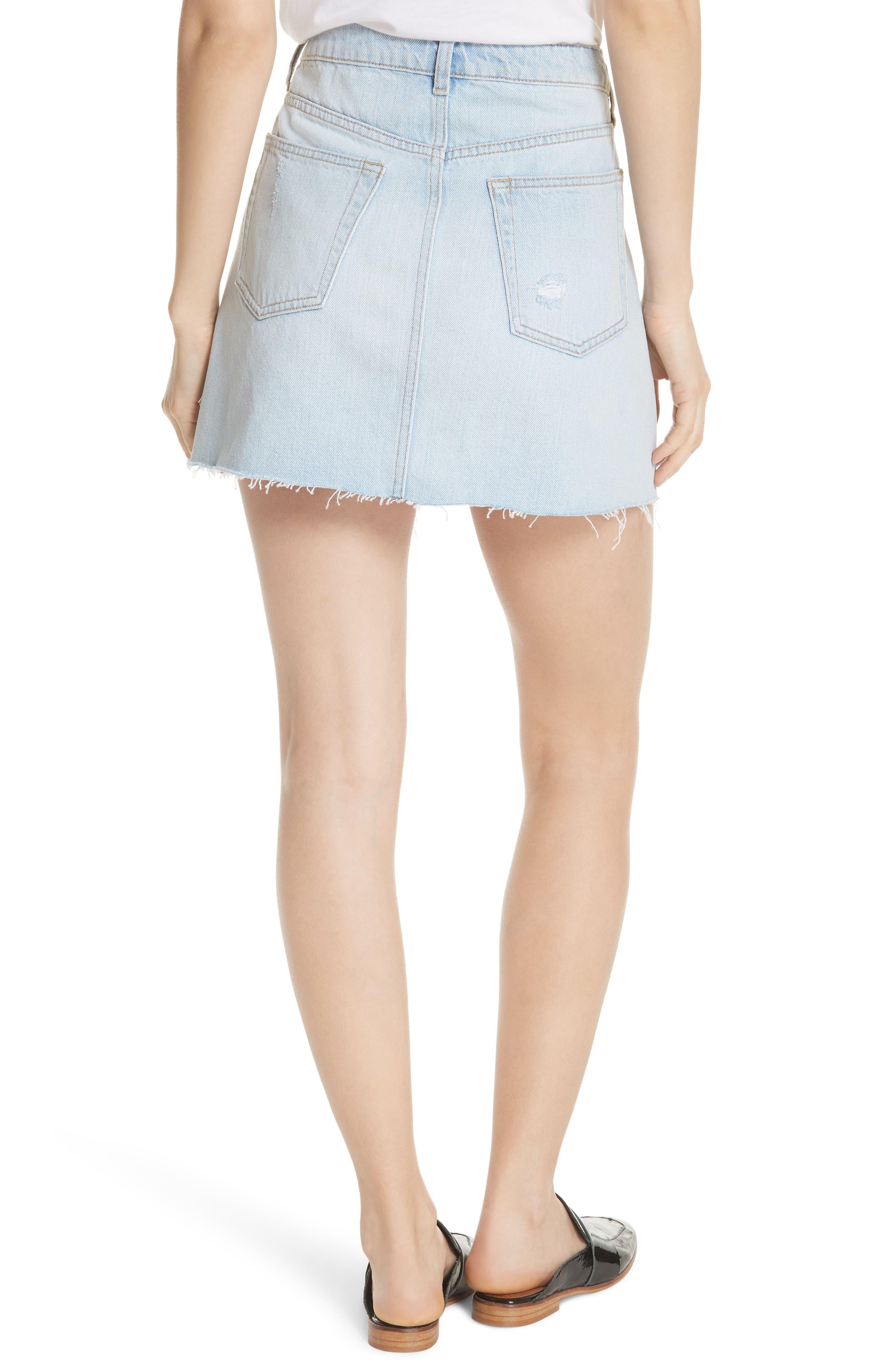 Denim A-Line Skirt,                             Alternate thumbnail 2, color,                             Light Denim