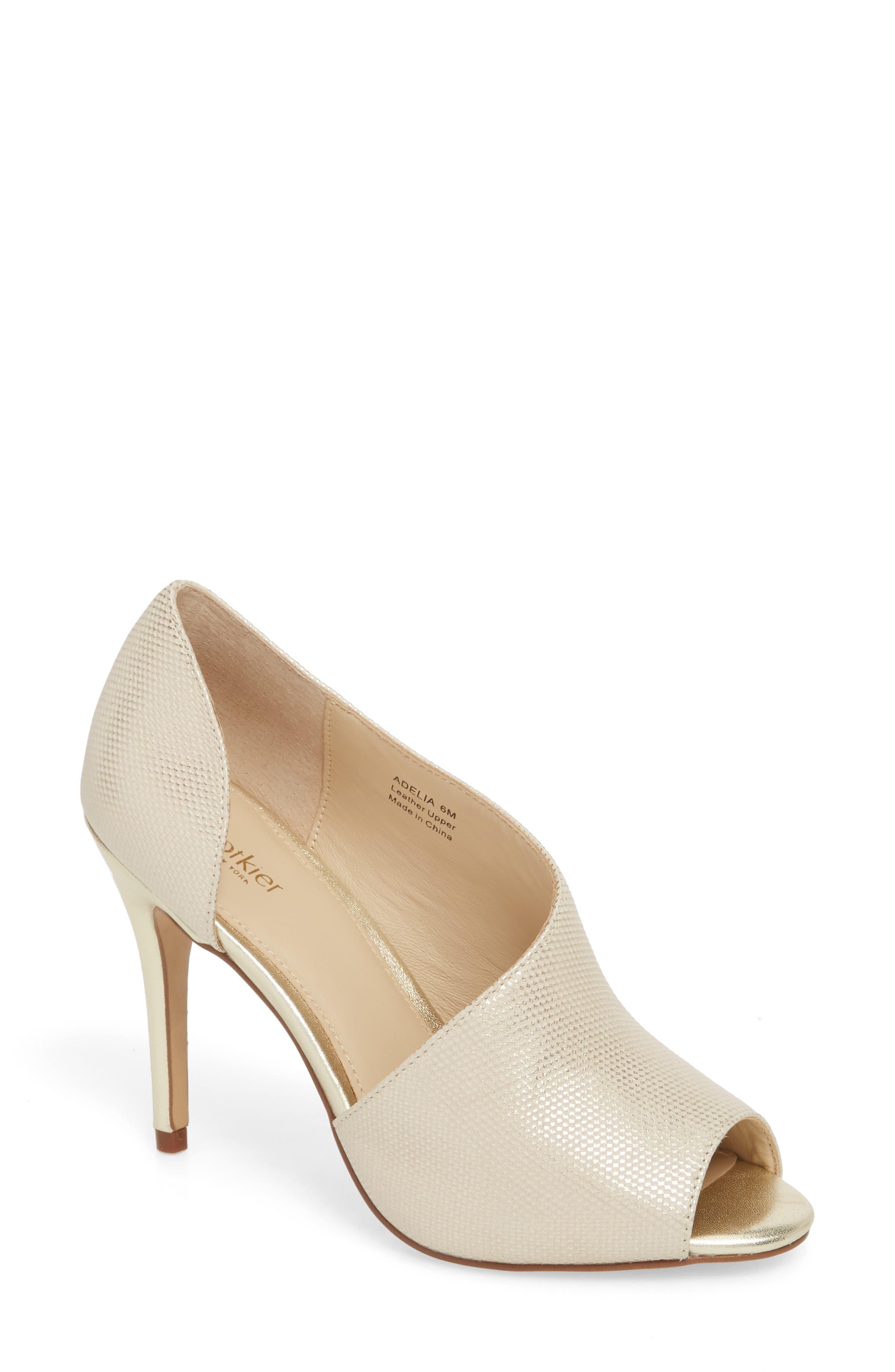 Adelia Asymmetrical Sandal,                         Main,                         color, Gold Shimmer Fabric