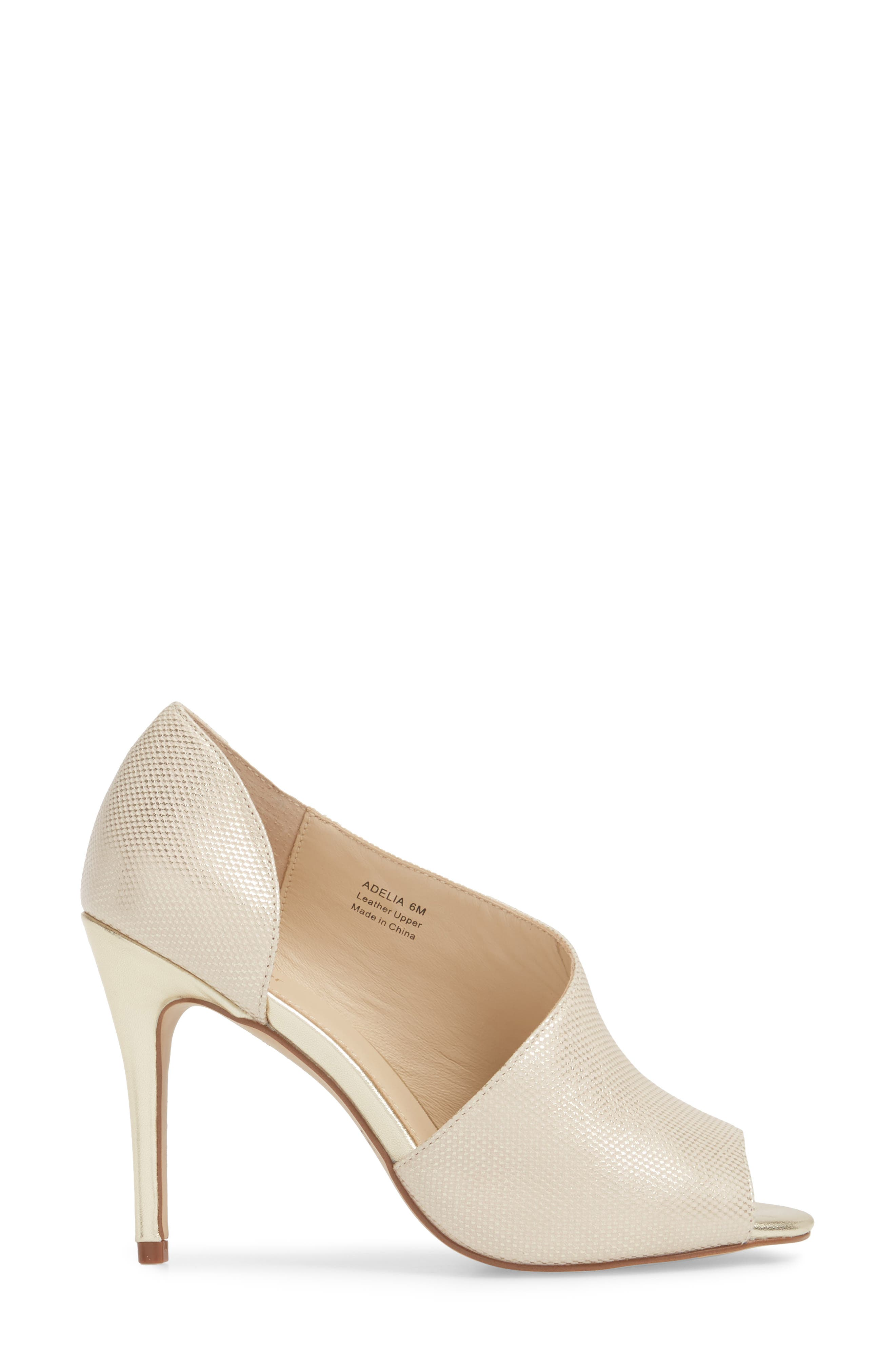 Adelia Asymmetrical Sandal,                             Alternate thumbnail 3, color,                             Gold Shimmer Fabric