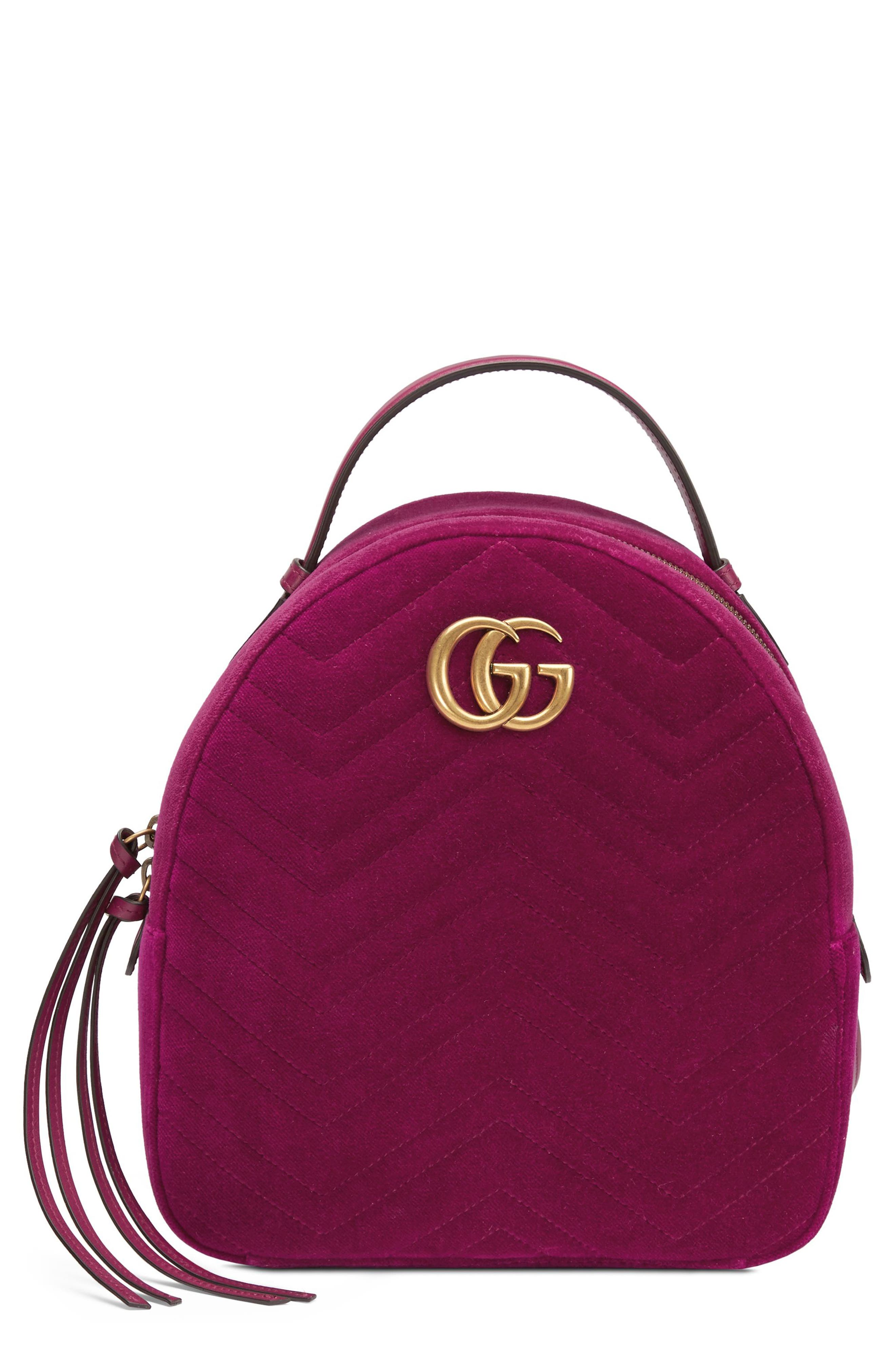 Gg Marmont 2.0 Matelasse Quilted Velvet Backpack - Pink, Fucsia/ Fucsia/ Viola