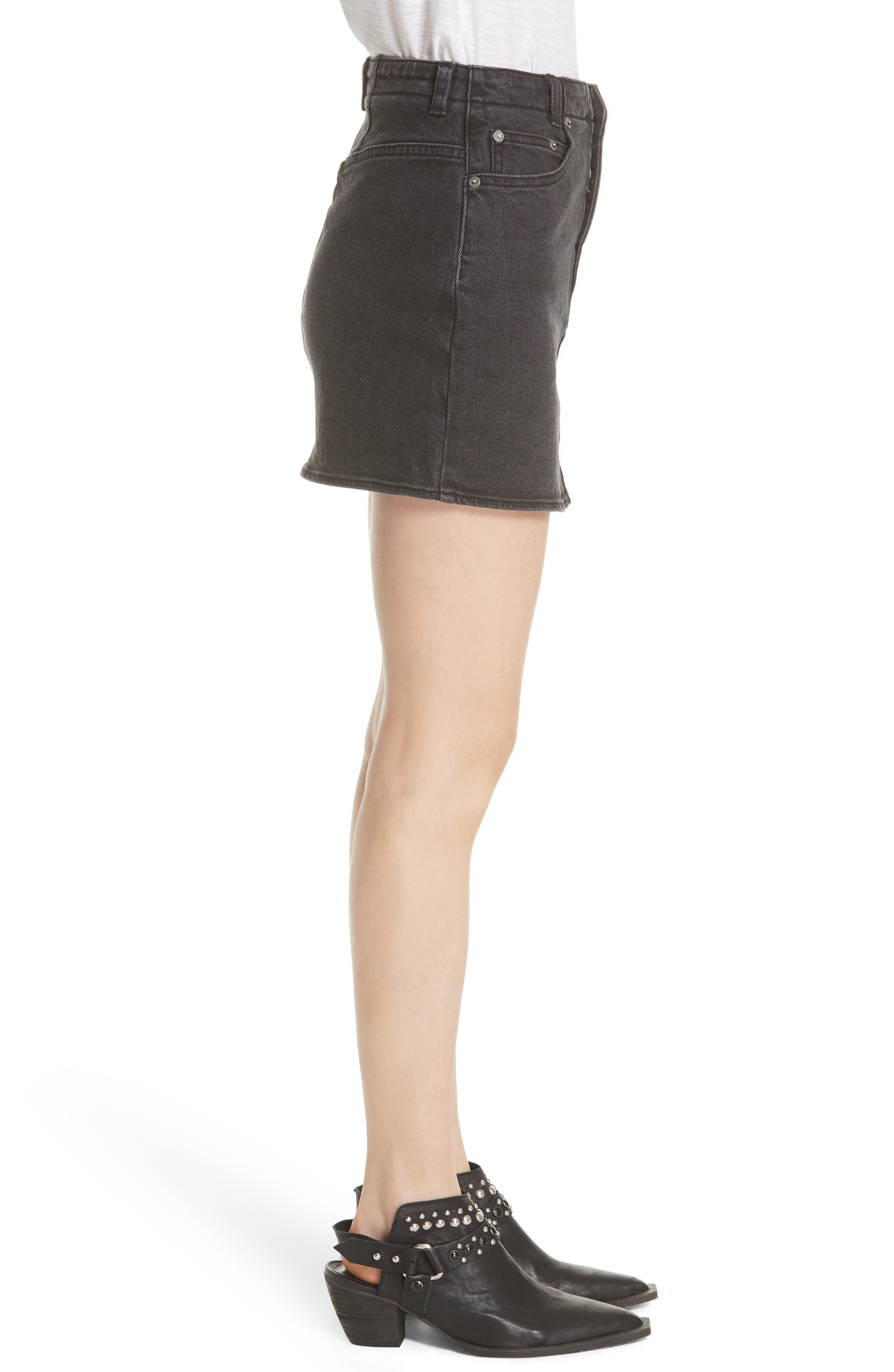 She's All That Denim Miniskirt,                             Alternate thumbnail 3, color,                             Black