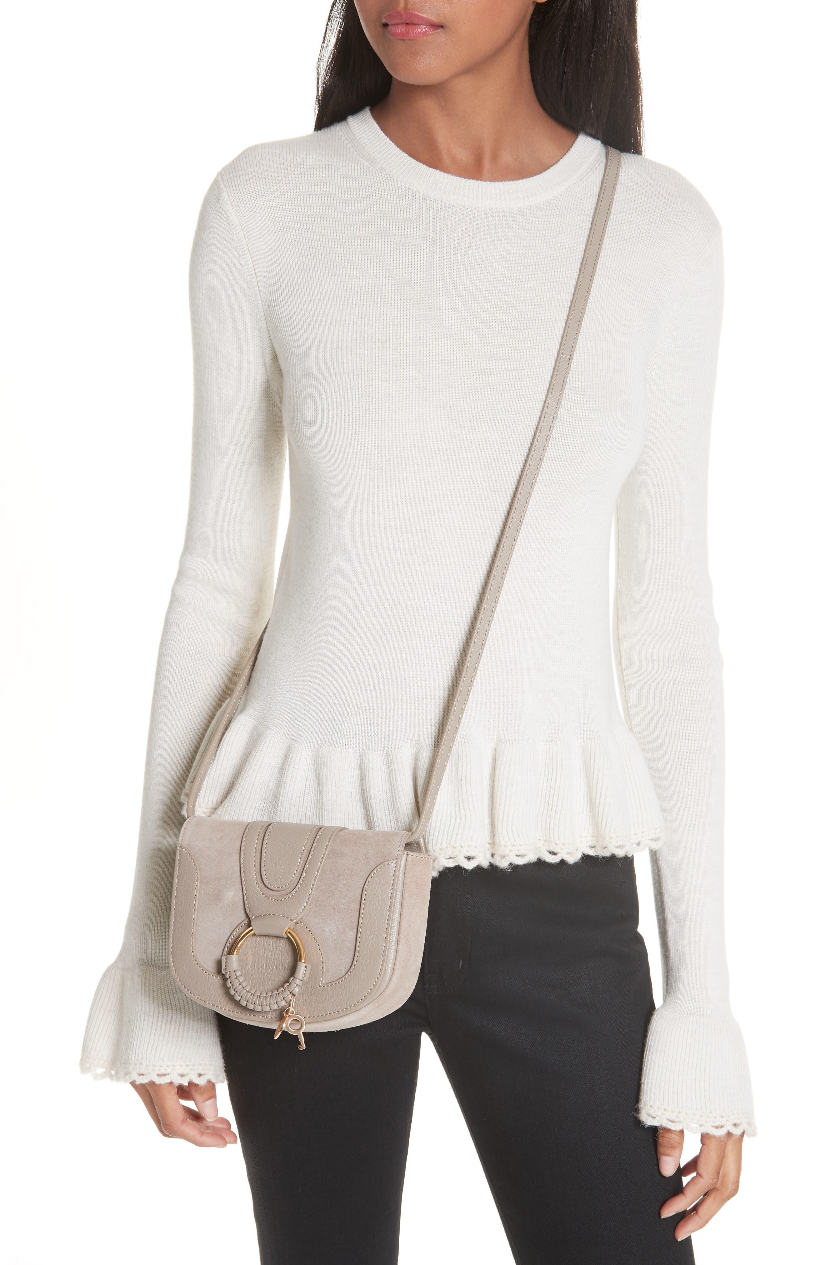 Hana Small Leather Crossbody Bag,                             Alternate thumbnail 2, color,                             Motty Grey