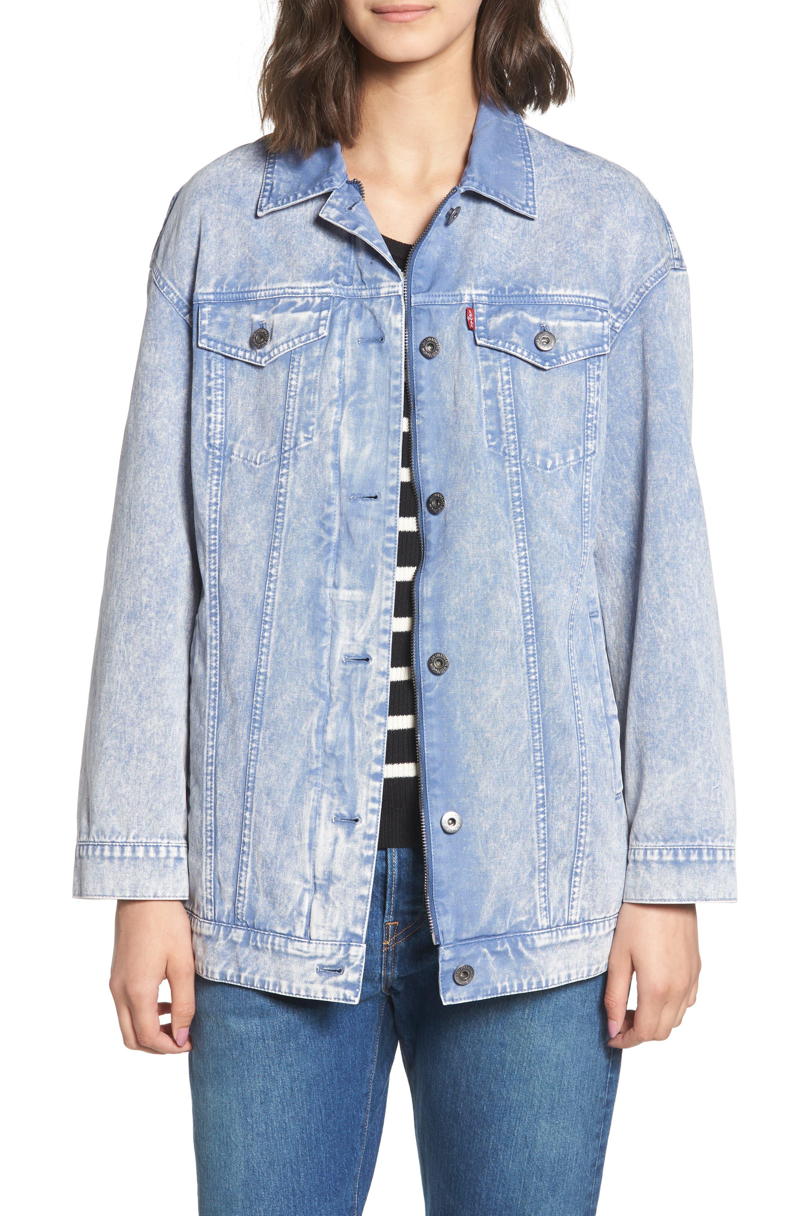 Oversize Cotton Canvas Trucker Jacket,                             Main thumbnail 1, color,                             Pacific Blue