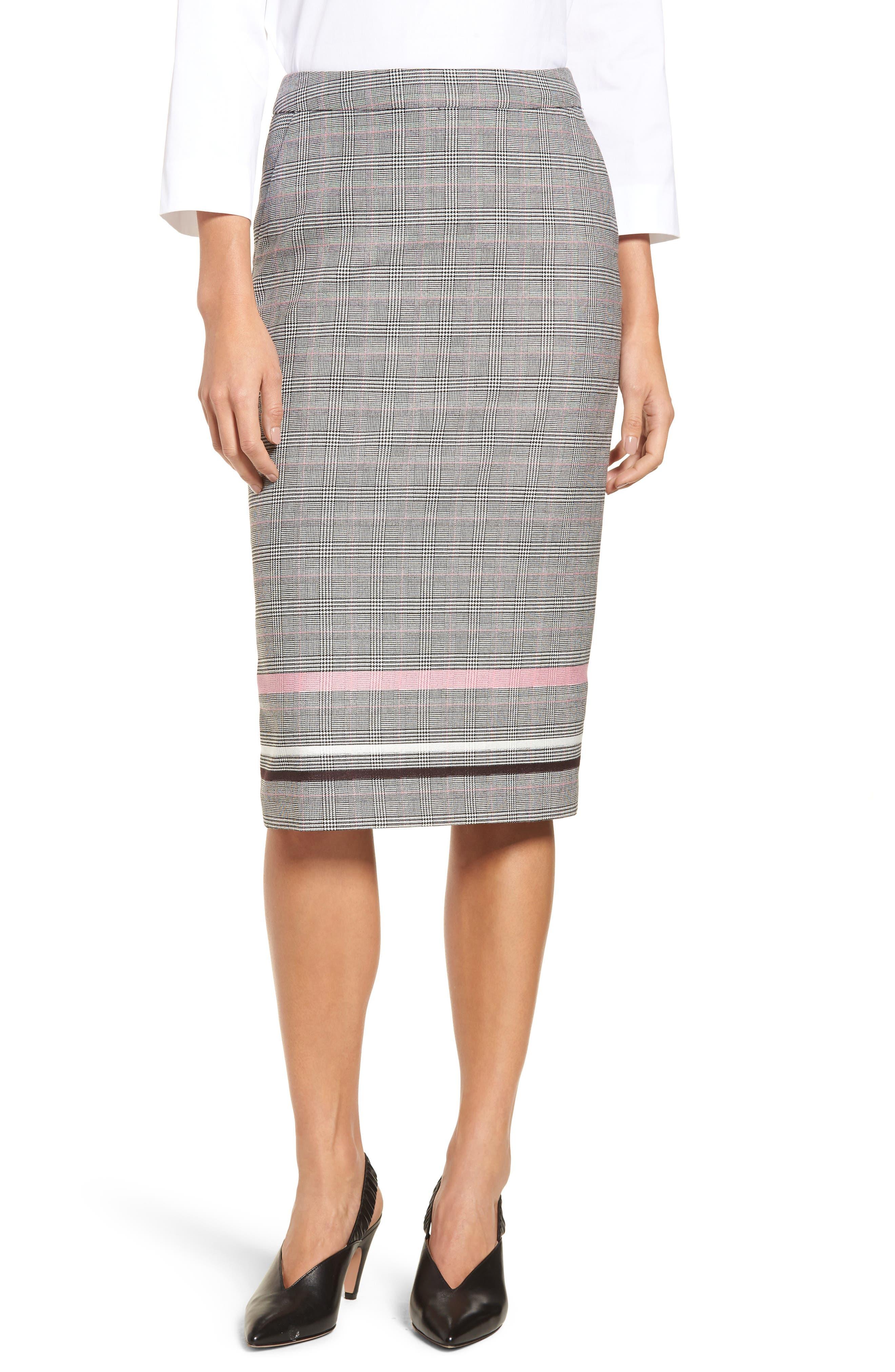 Plaid Stripe Pencil Skirt,                         Main,                         color, Black Striped Check
