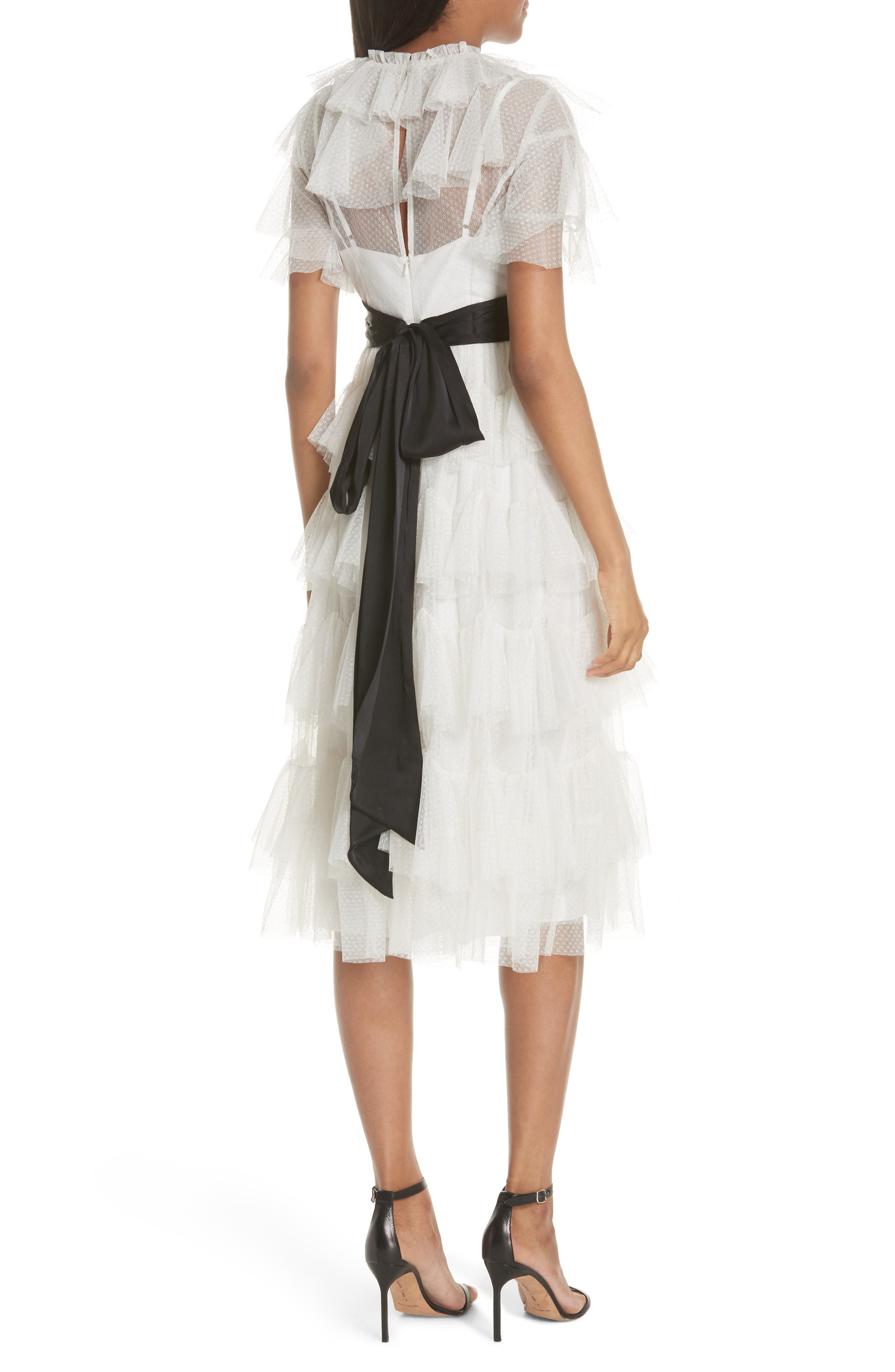 Tiered Tea Length Tulle Dress,                             Alternate thumbnail 2, color,                             Pearl