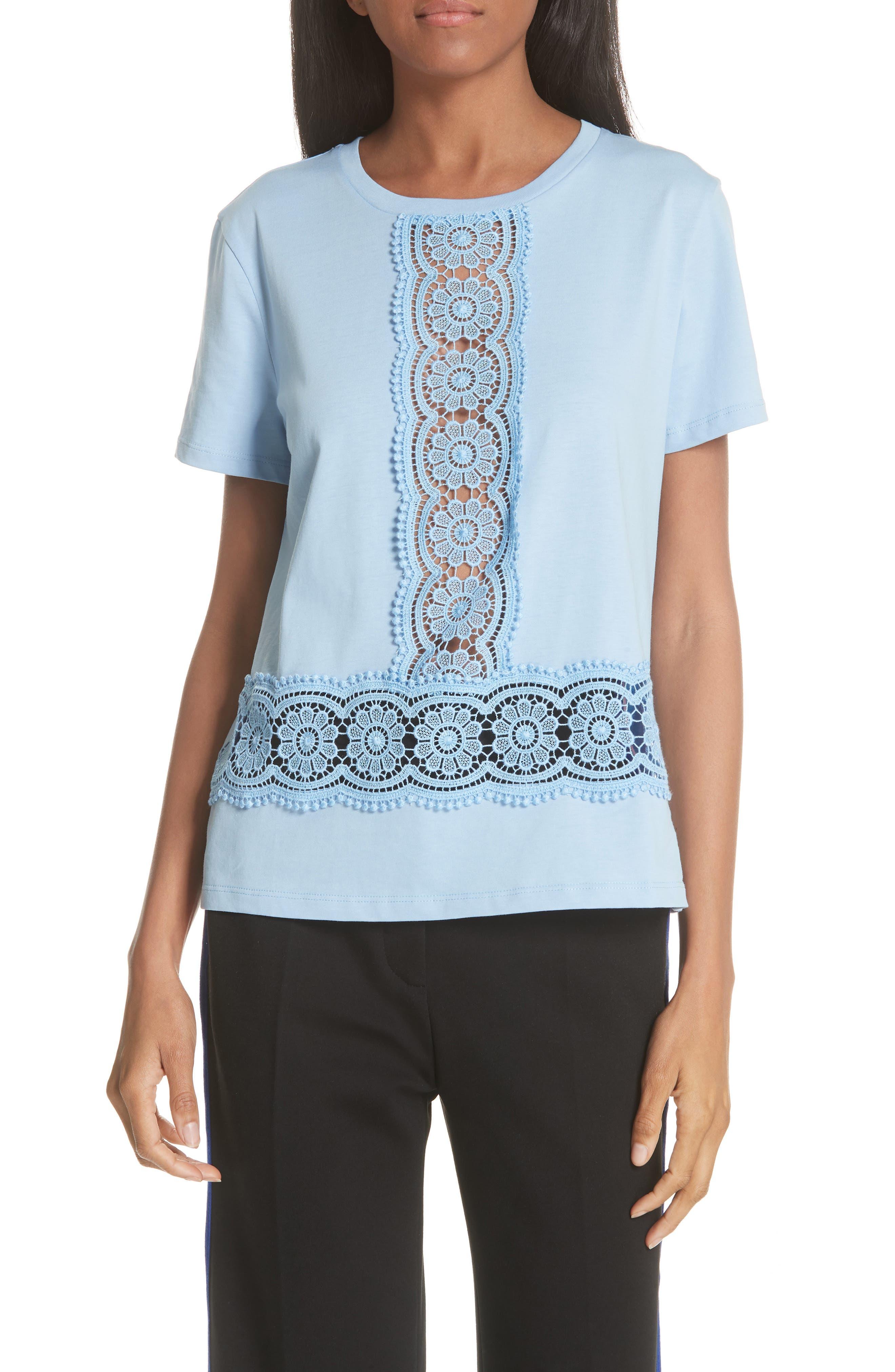 Lace Inset Cotton Top,                             Main thumbnail 1, color,                             Bleu Ciel