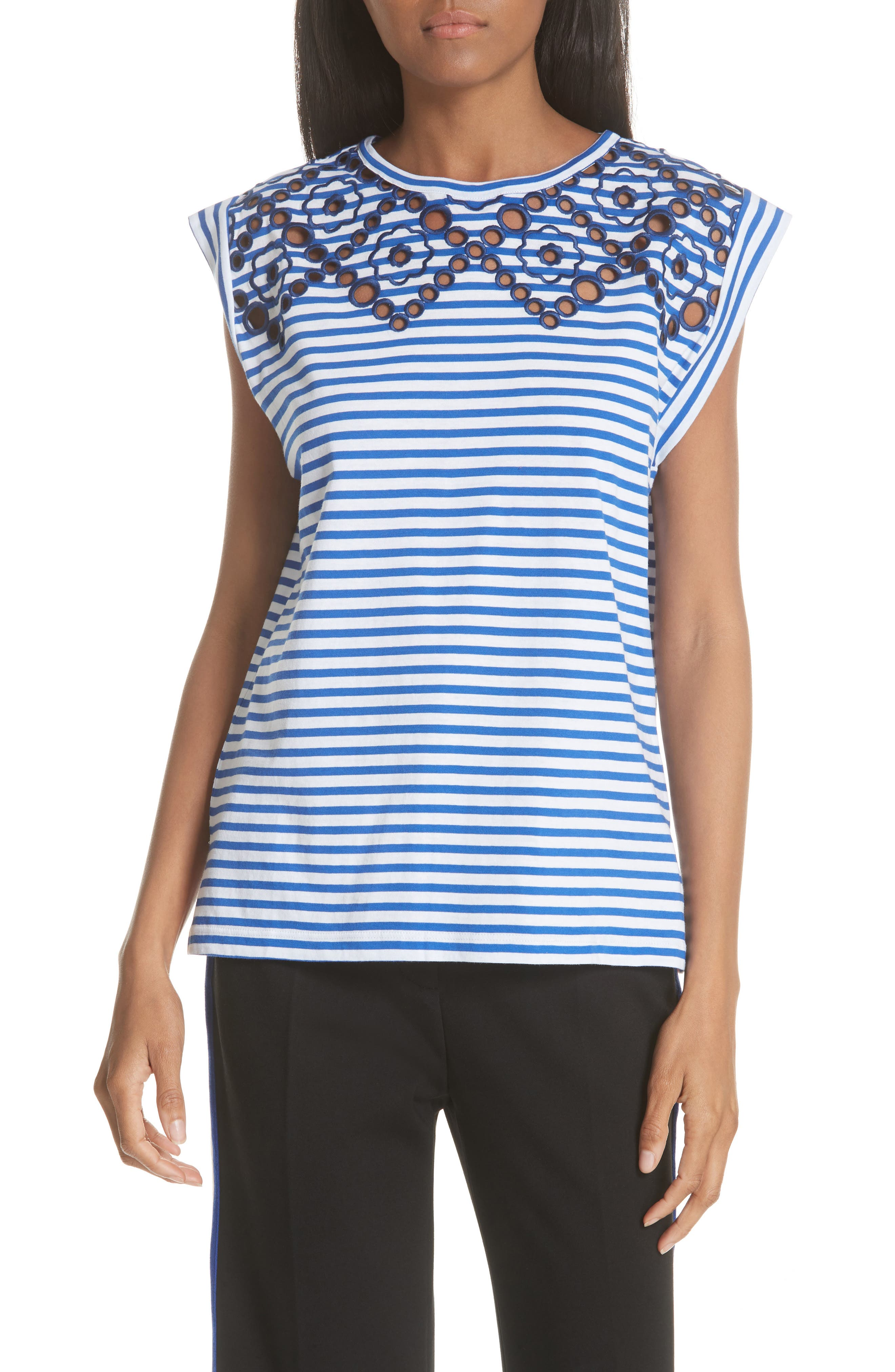 Stripe Embroidered Stencil Cotton Top,                         Main,                         color, Bleu Nuit