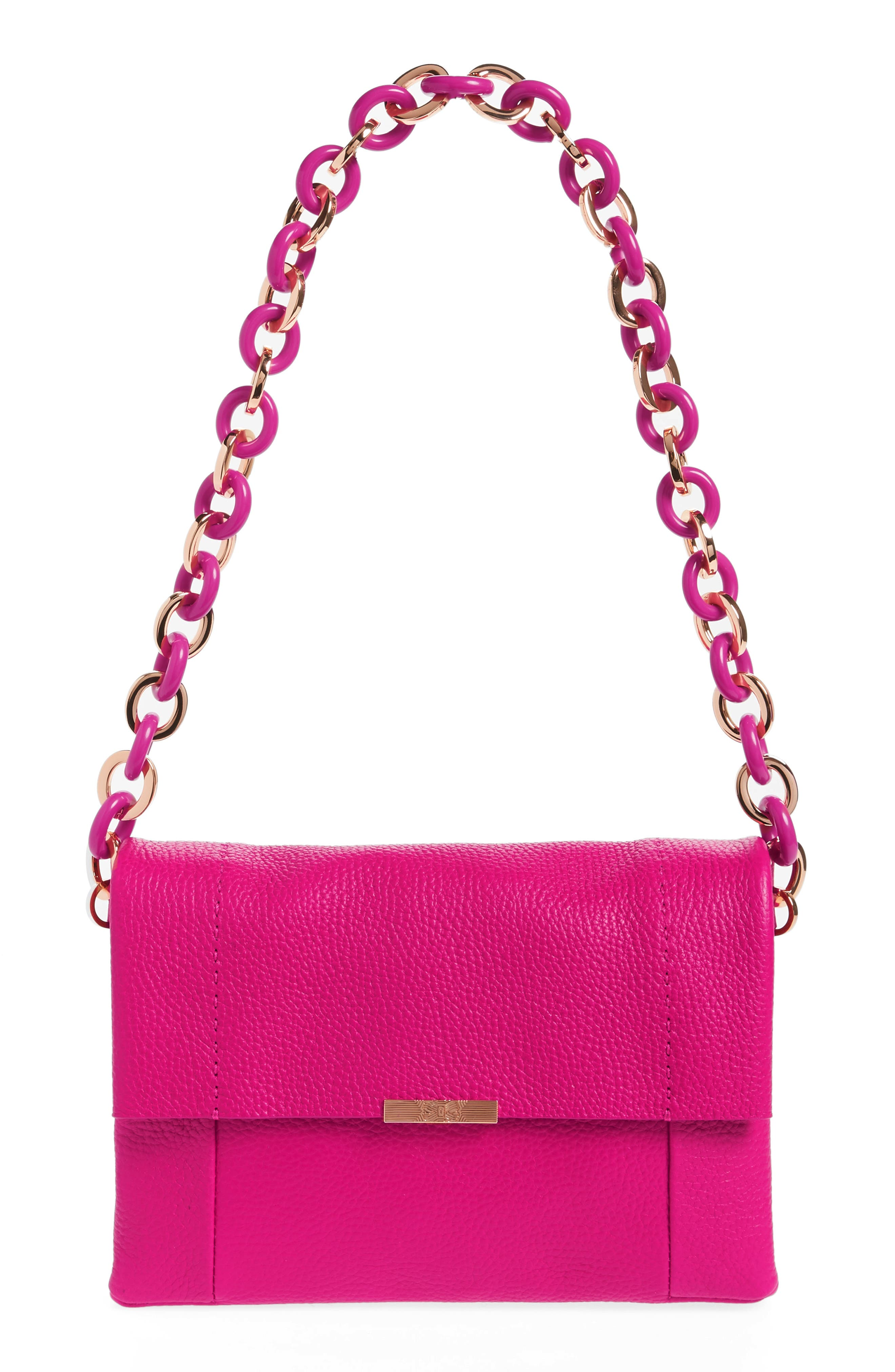 Ipomoea Leather Shoulder Bag,                             Main thumbnail 1, color,                             Fuchsia