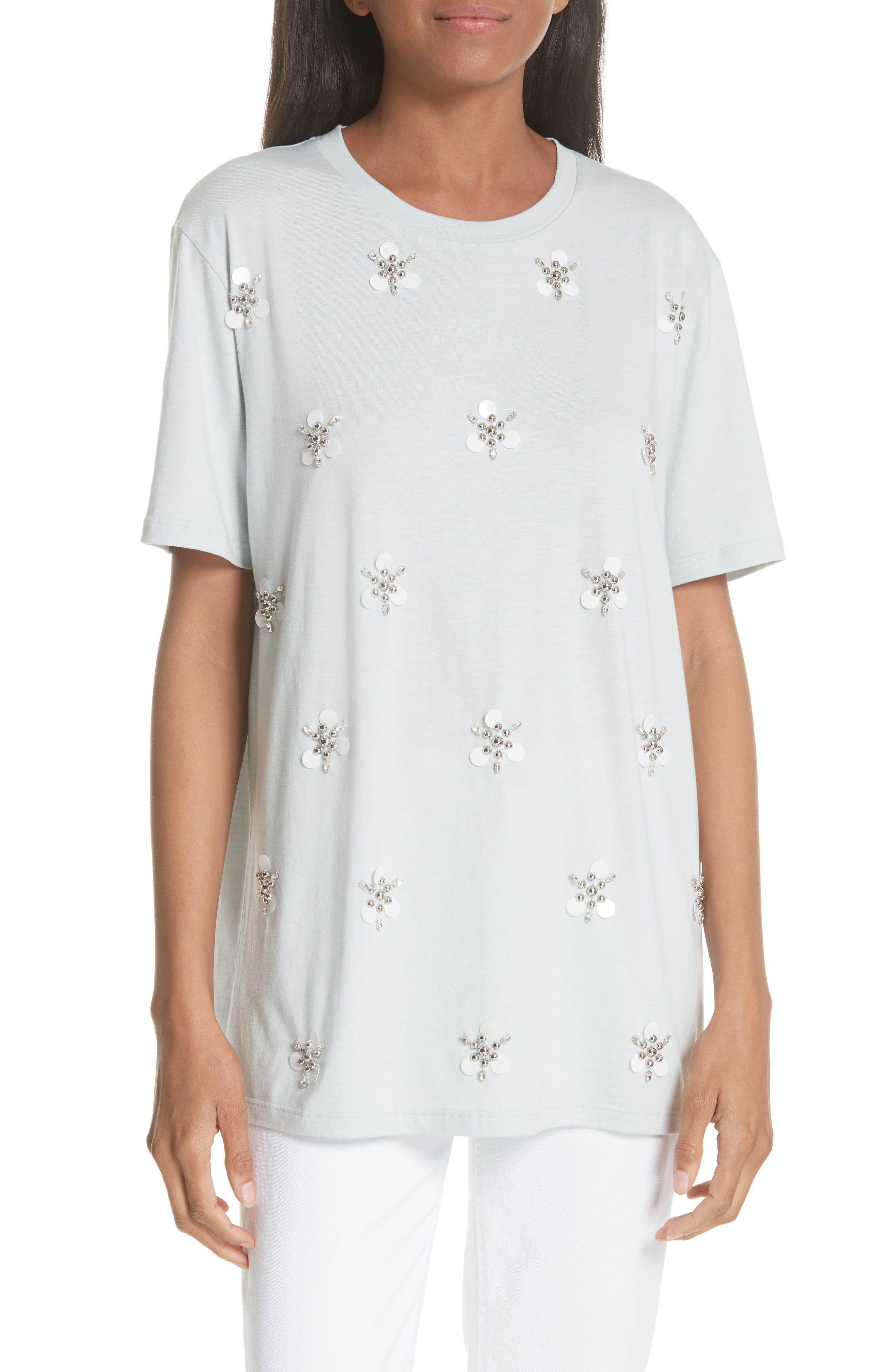 sandro Beaded Blossoms Cotton Blend Tee