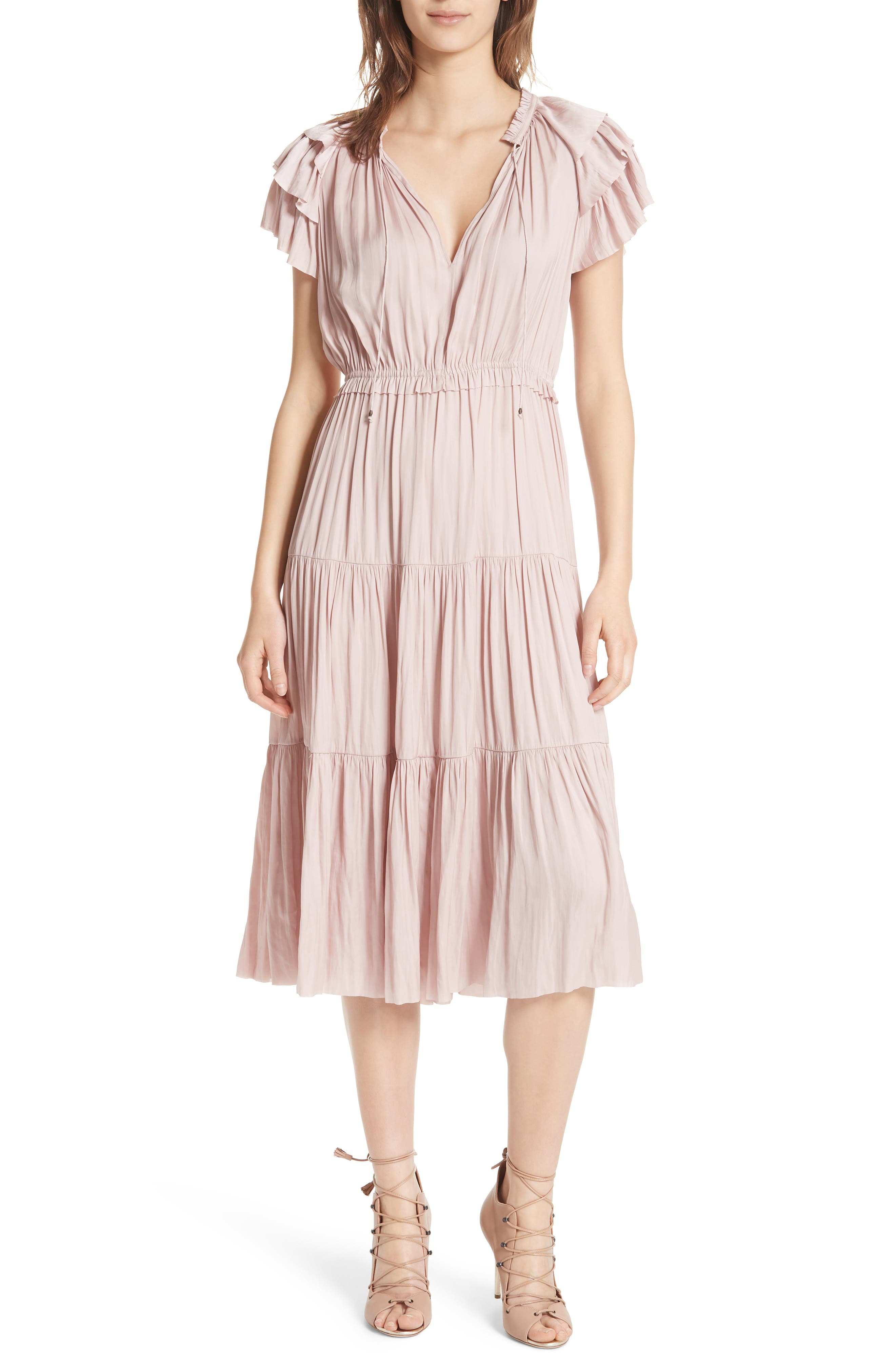 Blaire Satin Dress,                         Main,                         color, Rose