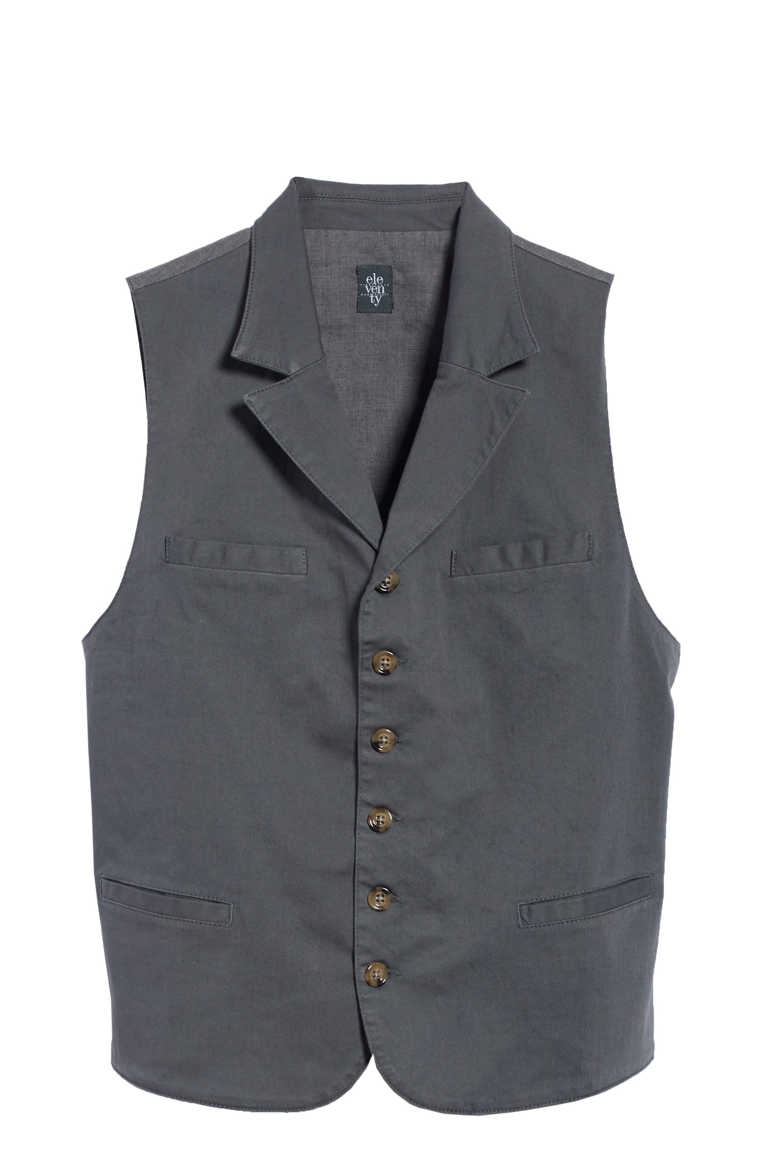 Slim Fit Stretch Cotton Twill Vest,                             Alternate thumbnail 6, color,                             Dark Grey