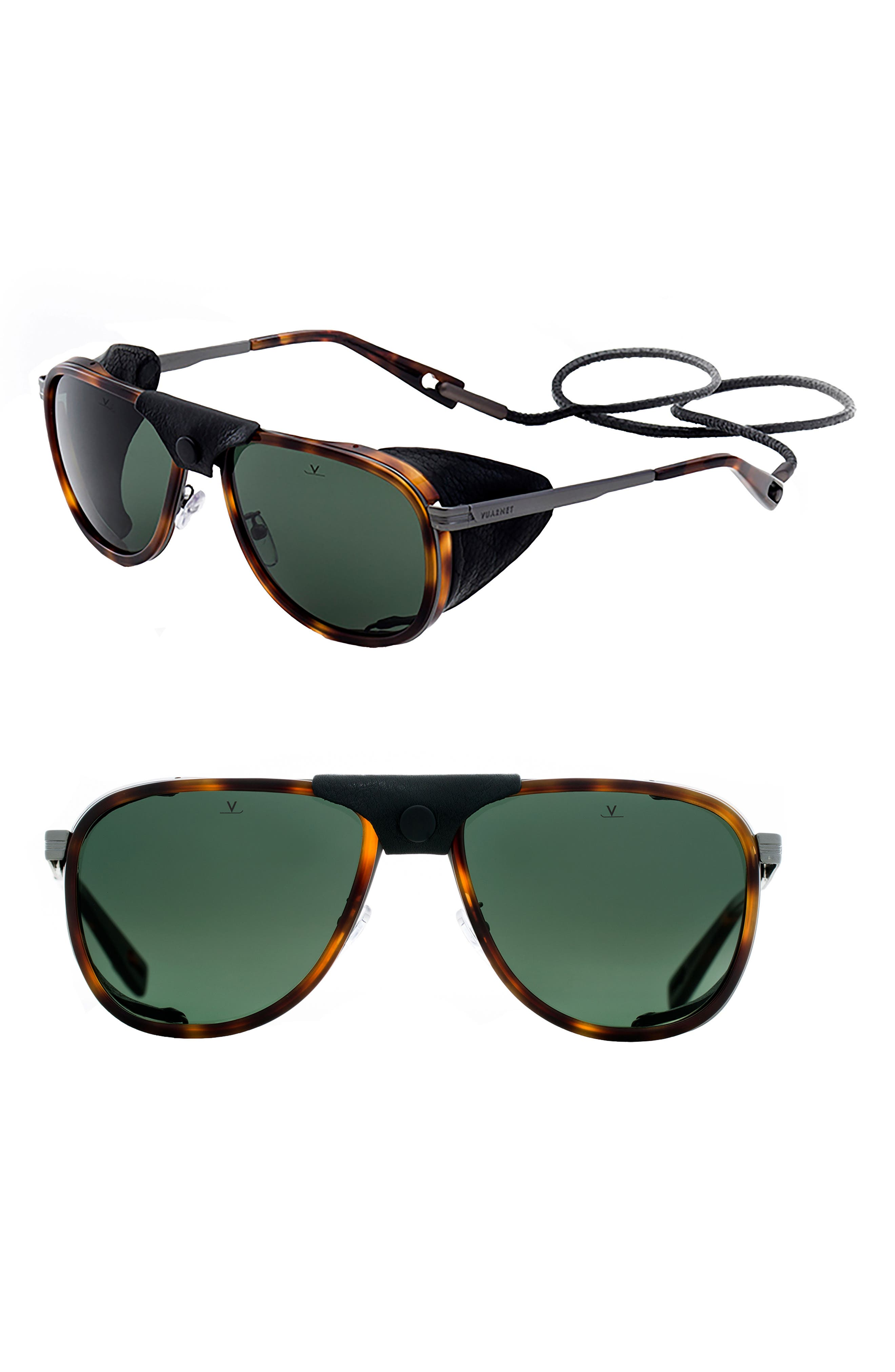 Men'S Glacier Xl Polarized Sunglasses W/ Removable Leather Side Case in Tortoise / Gun Metal