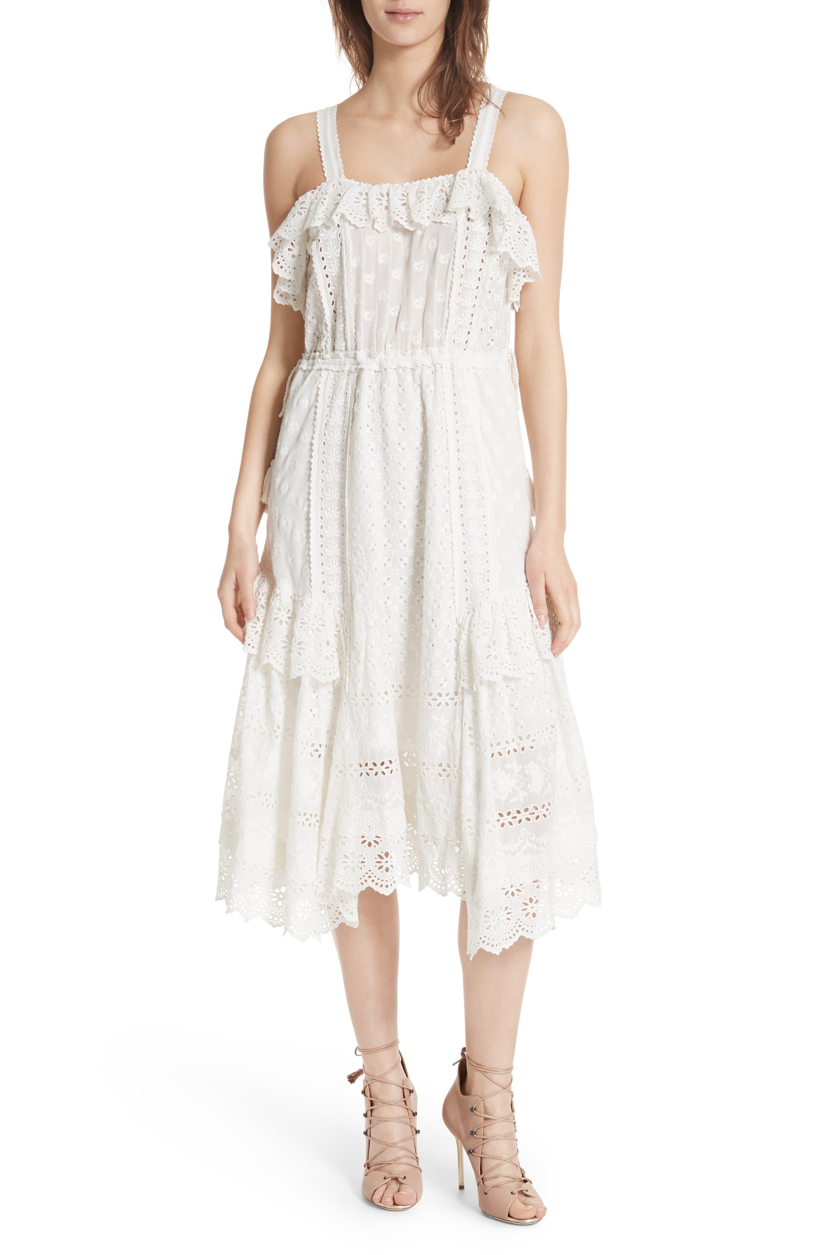 Edwina Eyelet Dress,                         Main,                         color, Blanc