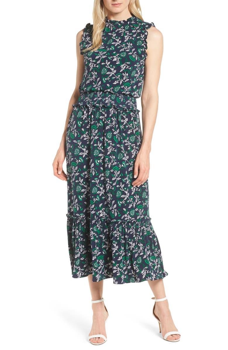 Michael Kors Boho Smocked Waist Midi Dress