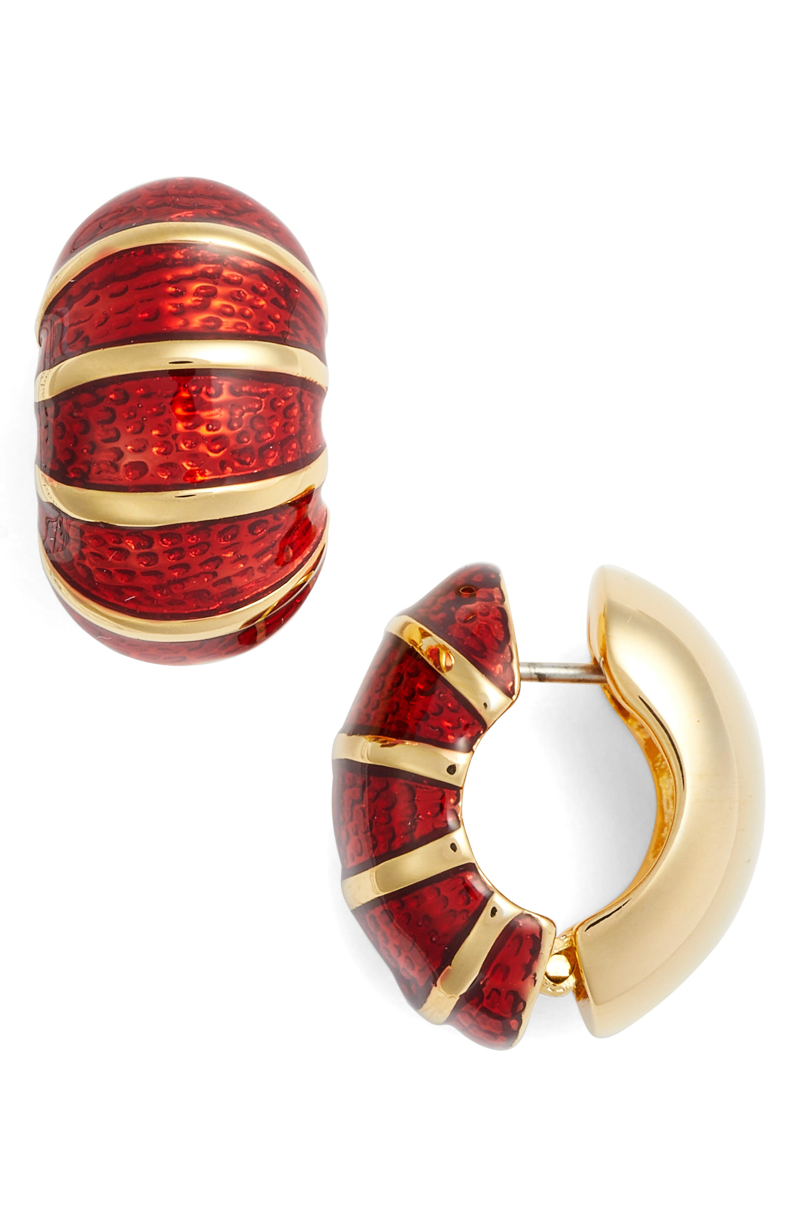Goldtone & Red Reversible Earrings,                         Main,                         color, Red