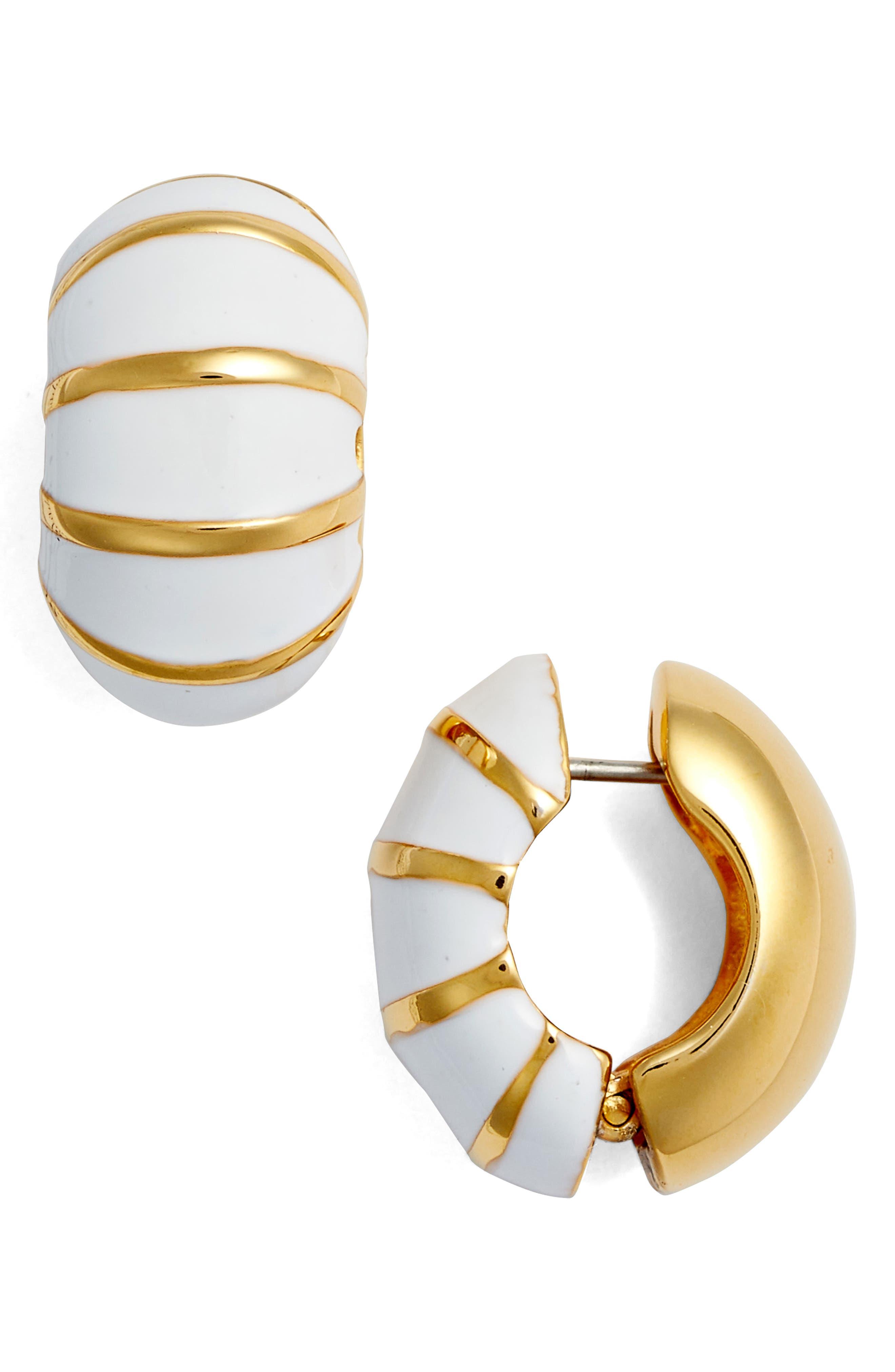 Goldtone & White Reversible Earrings,                         Main,                         color, White/ Gold