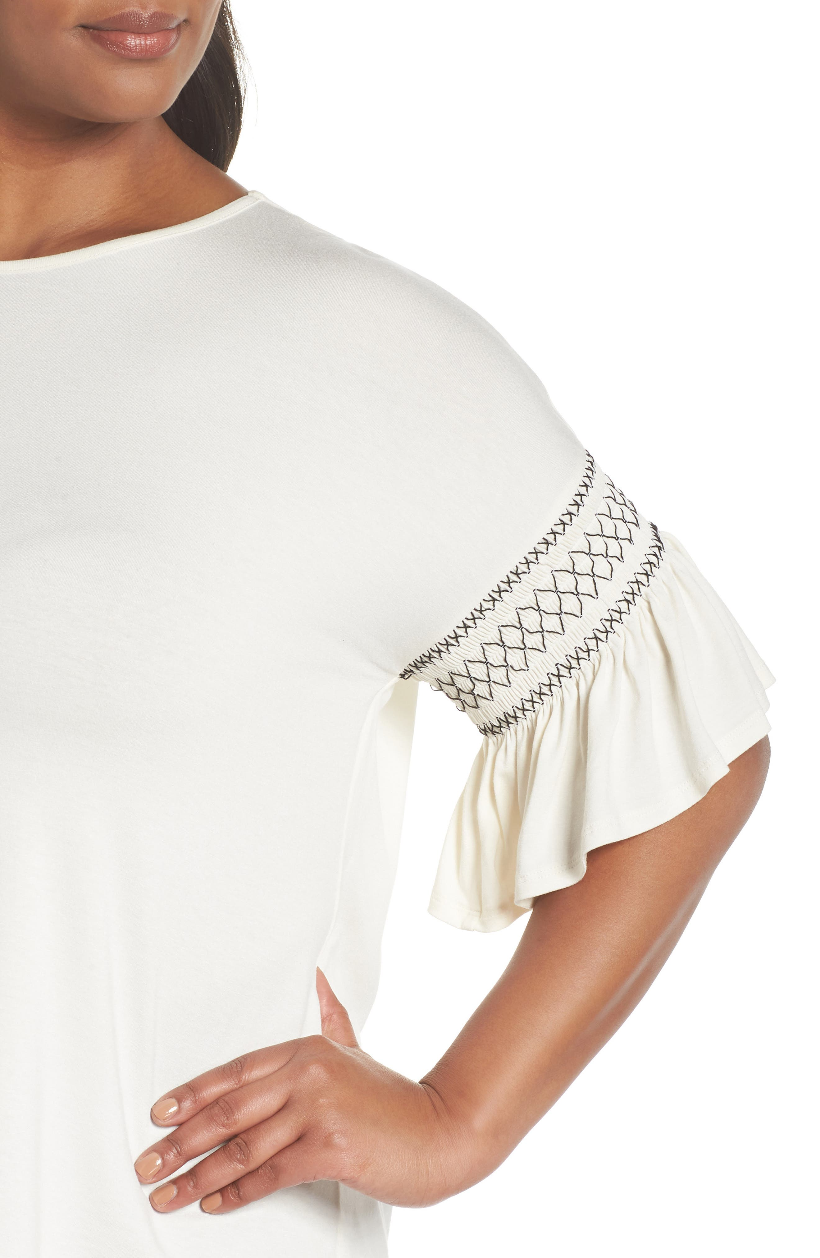 Smocked Ruffle Sleeve Top,                             Alternate thumbnail 4, color,                             Antique White