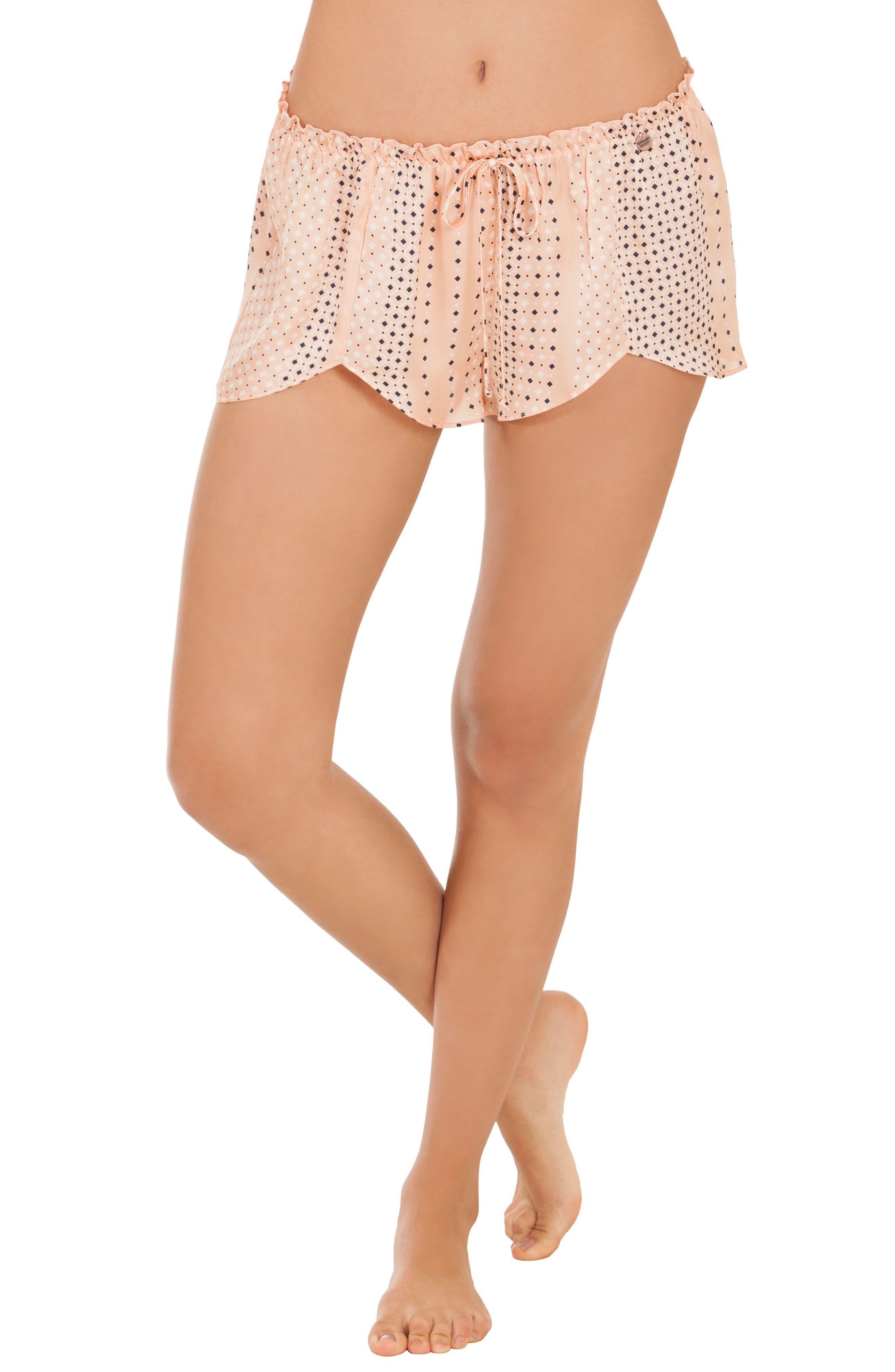 Stripe Pajama Shorts,                             Main thumbnail 1, color,                             Coral Geo