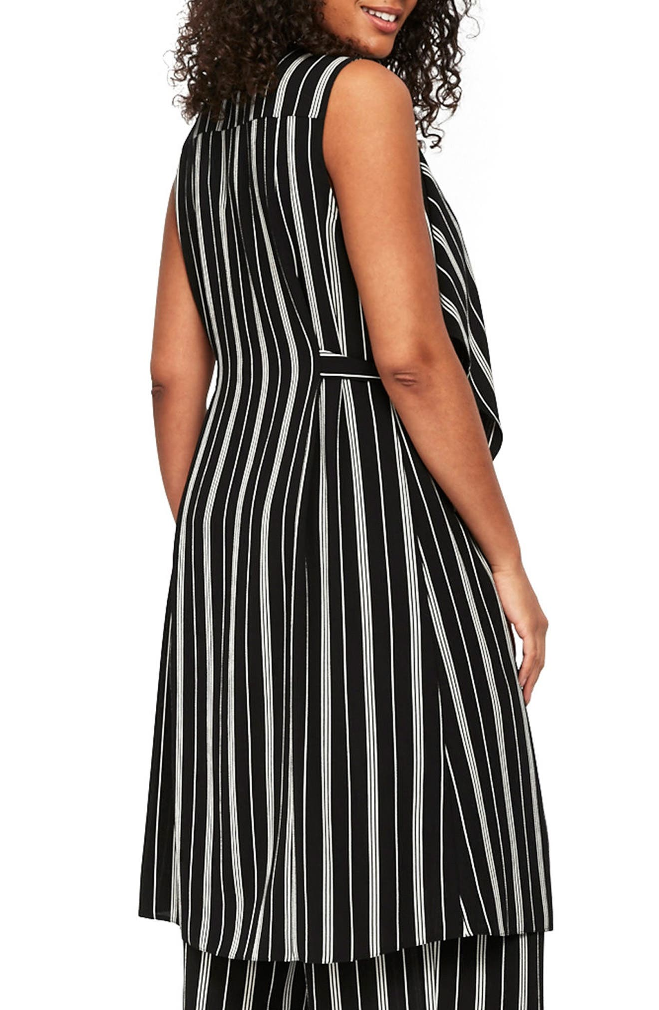 Stripe Sleeveless Jacket,                             Alternate thumbnail 2, color,                             Black/ White