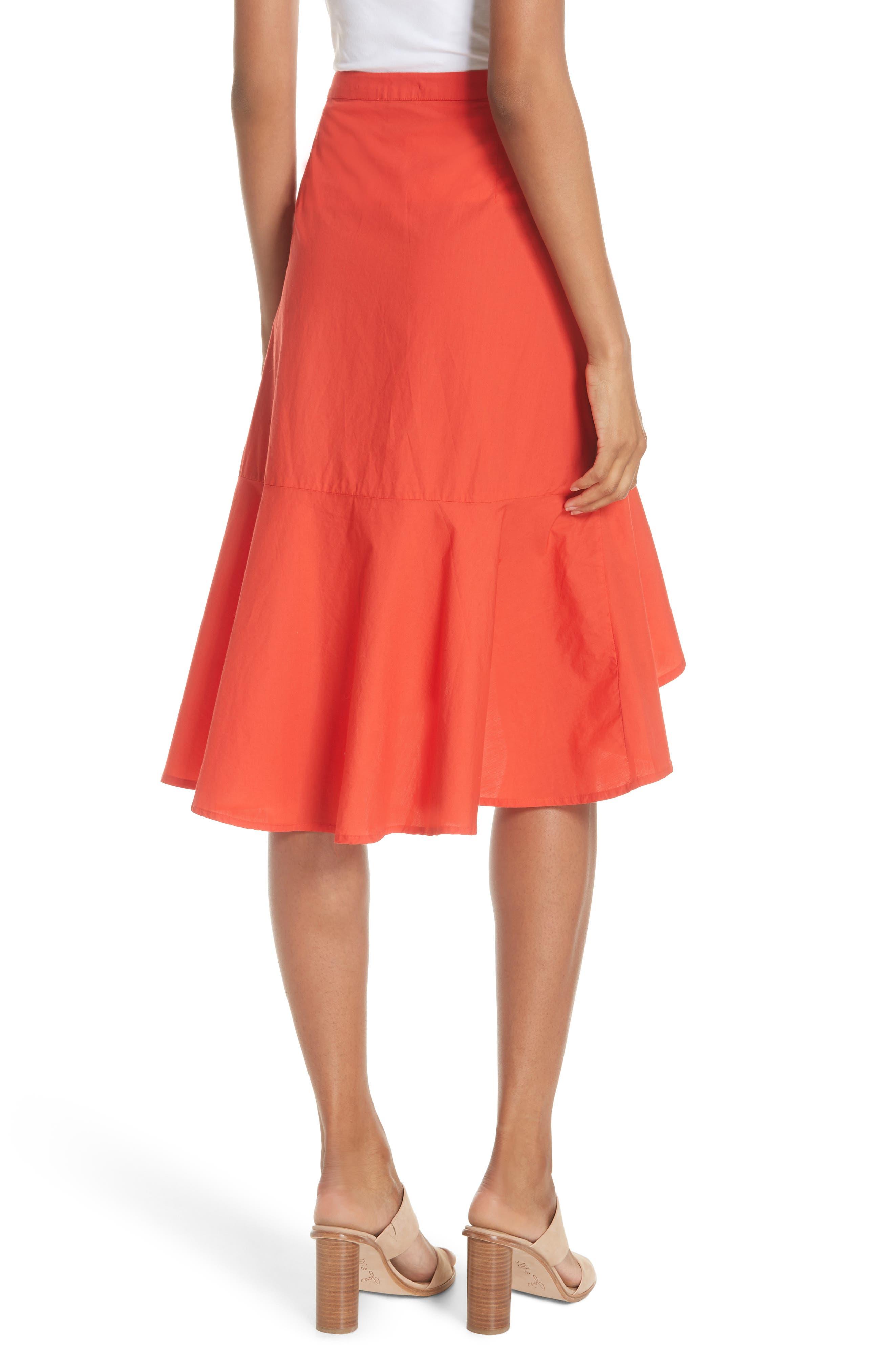 Chesmu Ruffled Cotton Skirt,                             Alternate thumbnail 2, color,                             Salsa