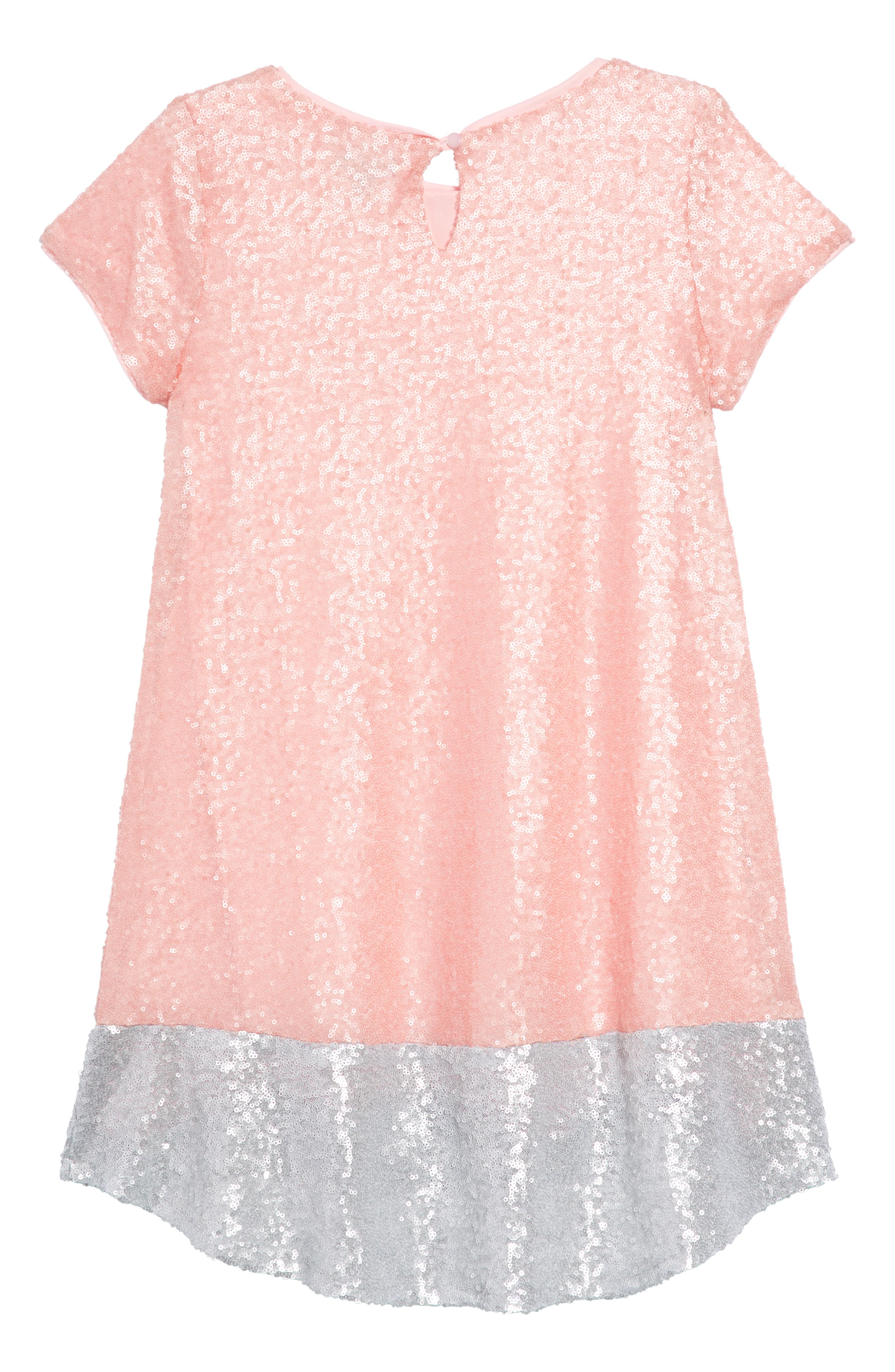 Sequin Shift Dress,                             Alternate thumbnail 2, color,                             Pink/ Silver
