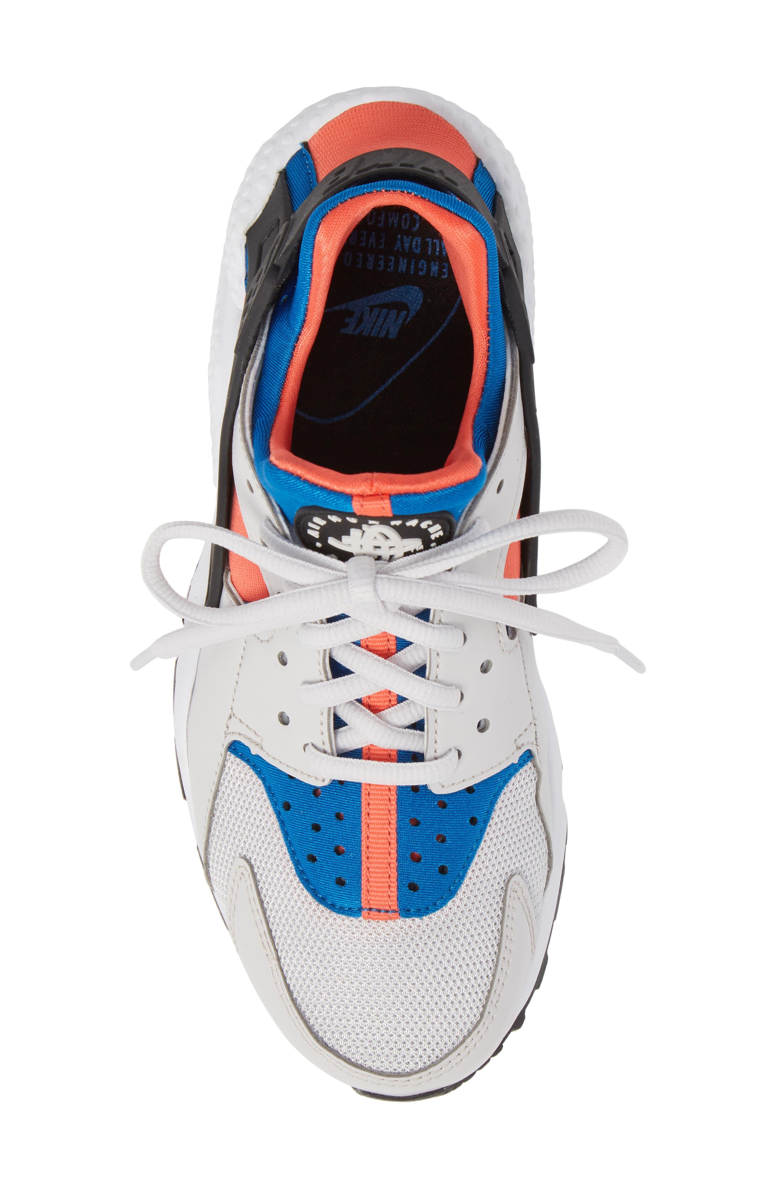 Air Huarache Run Sneaker,                             Alternate thumbnail 5, color,                             Grey/ Black/ Coral/ Nebula