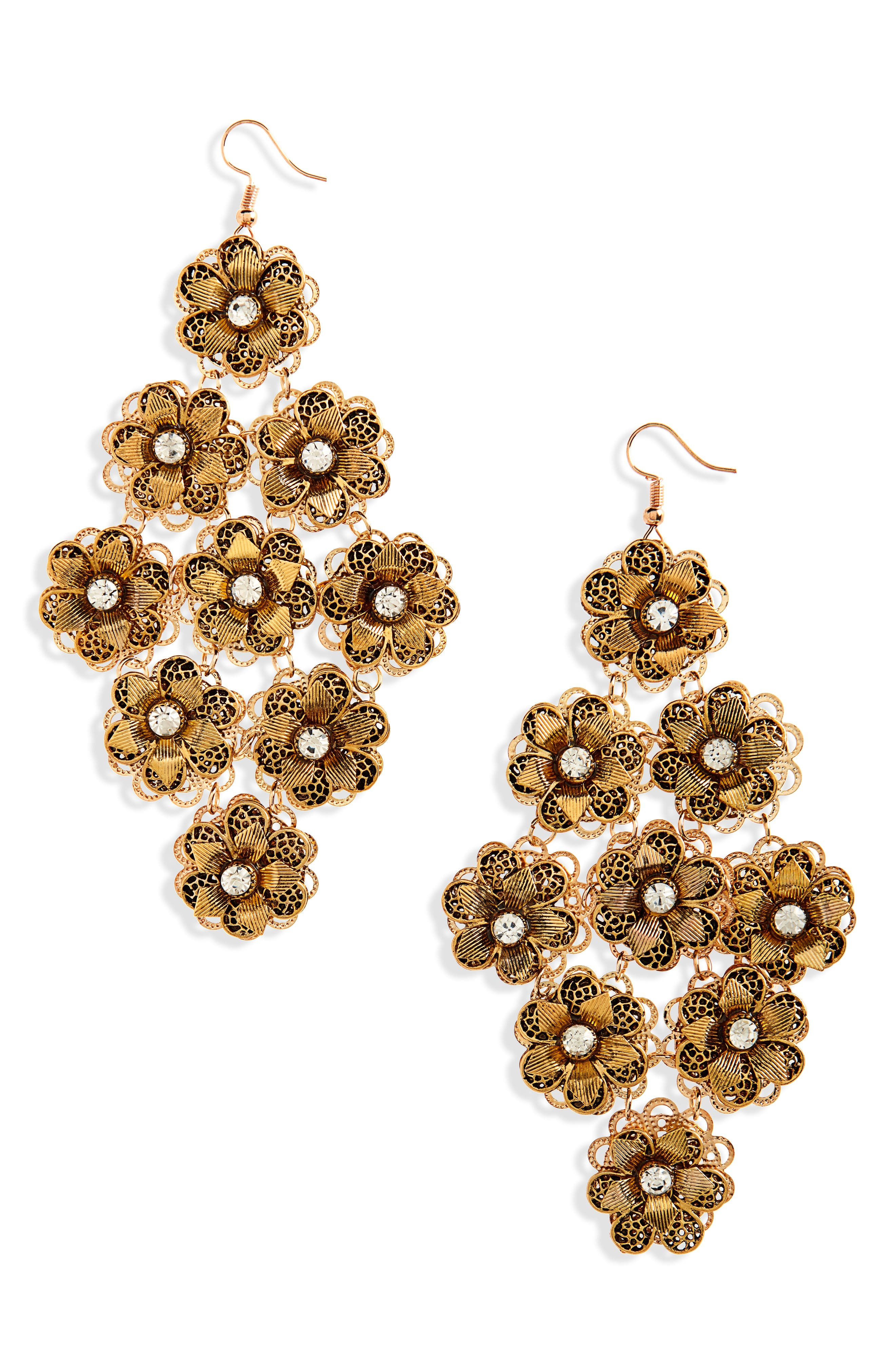 Floral Chandelier Drops,                         Main,                         color, Burnish Gold
