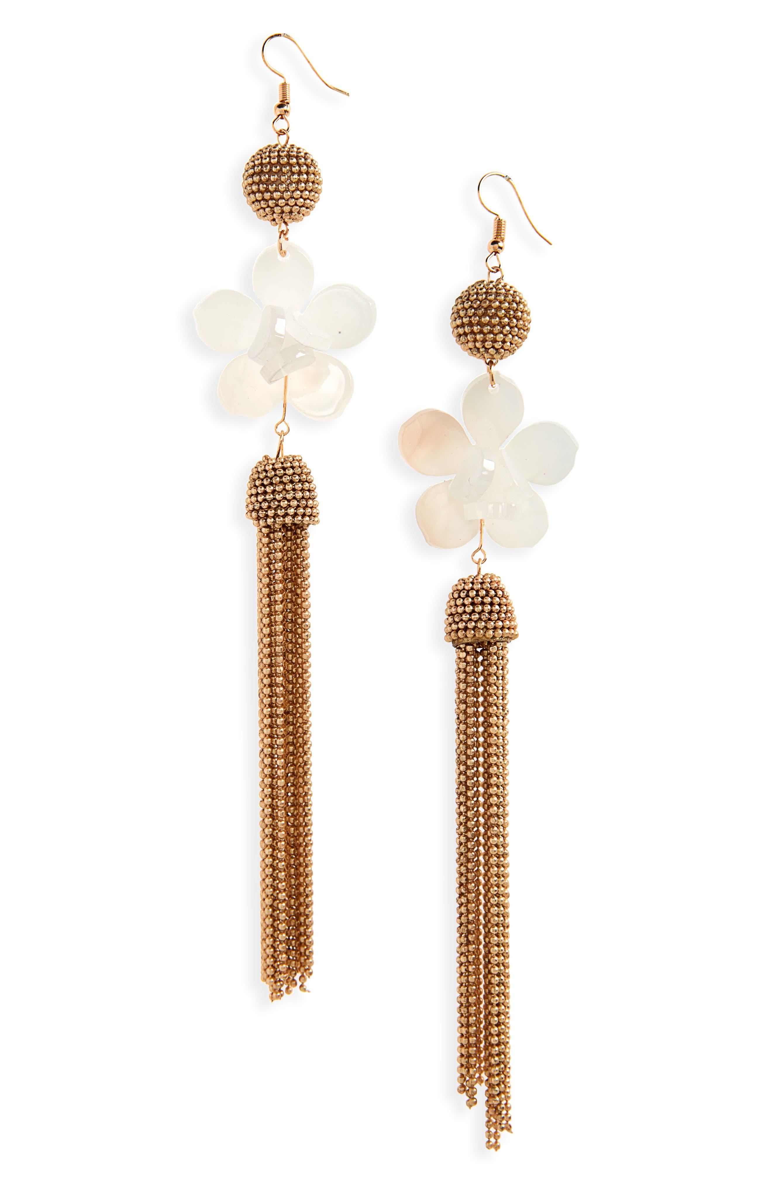 Leith Flower & Ball Chain Drop Earrings
