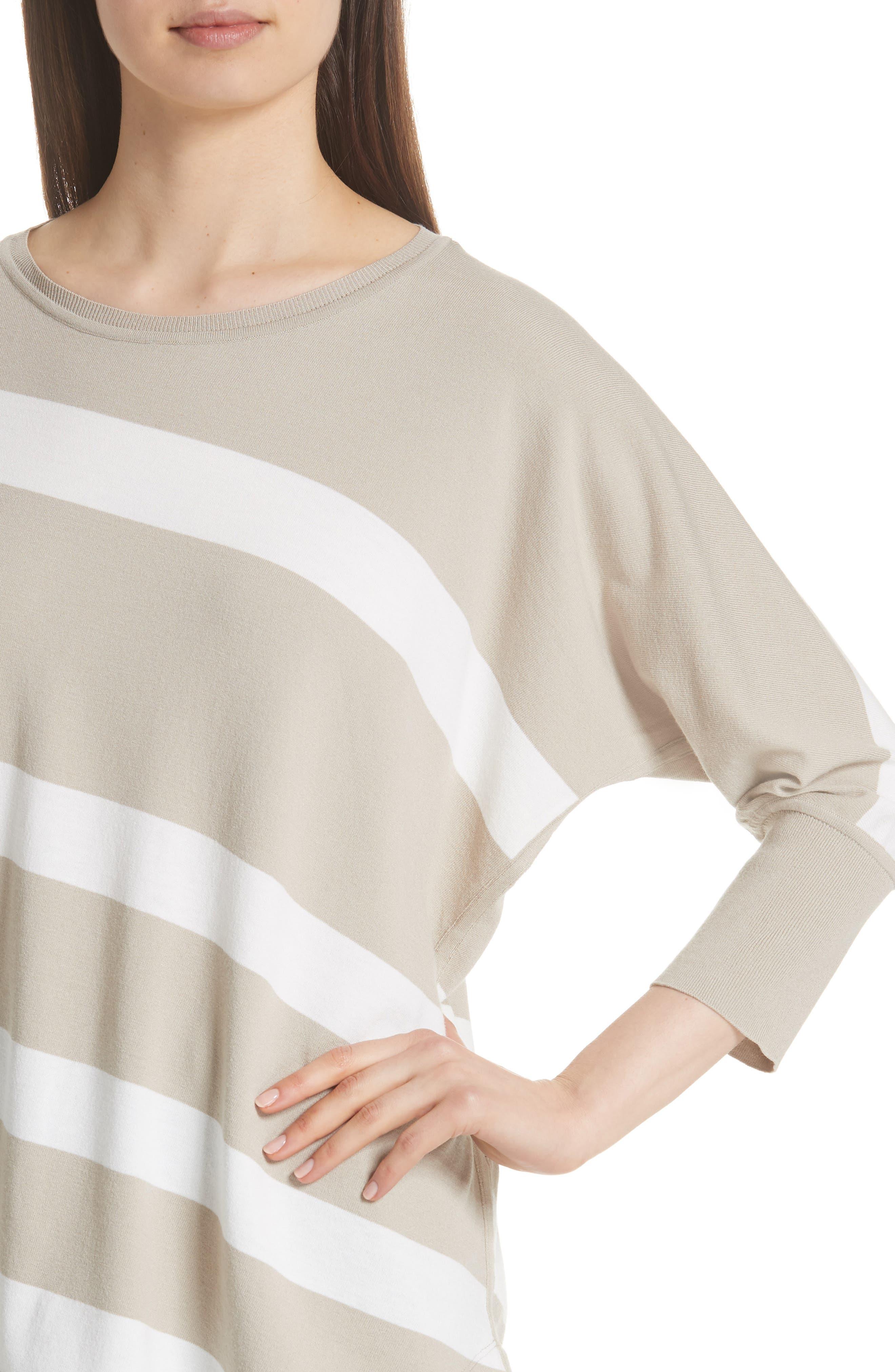 Stripe Sweater,                             Alternate thumbnail 4, color,                             Khaki/ Cloud