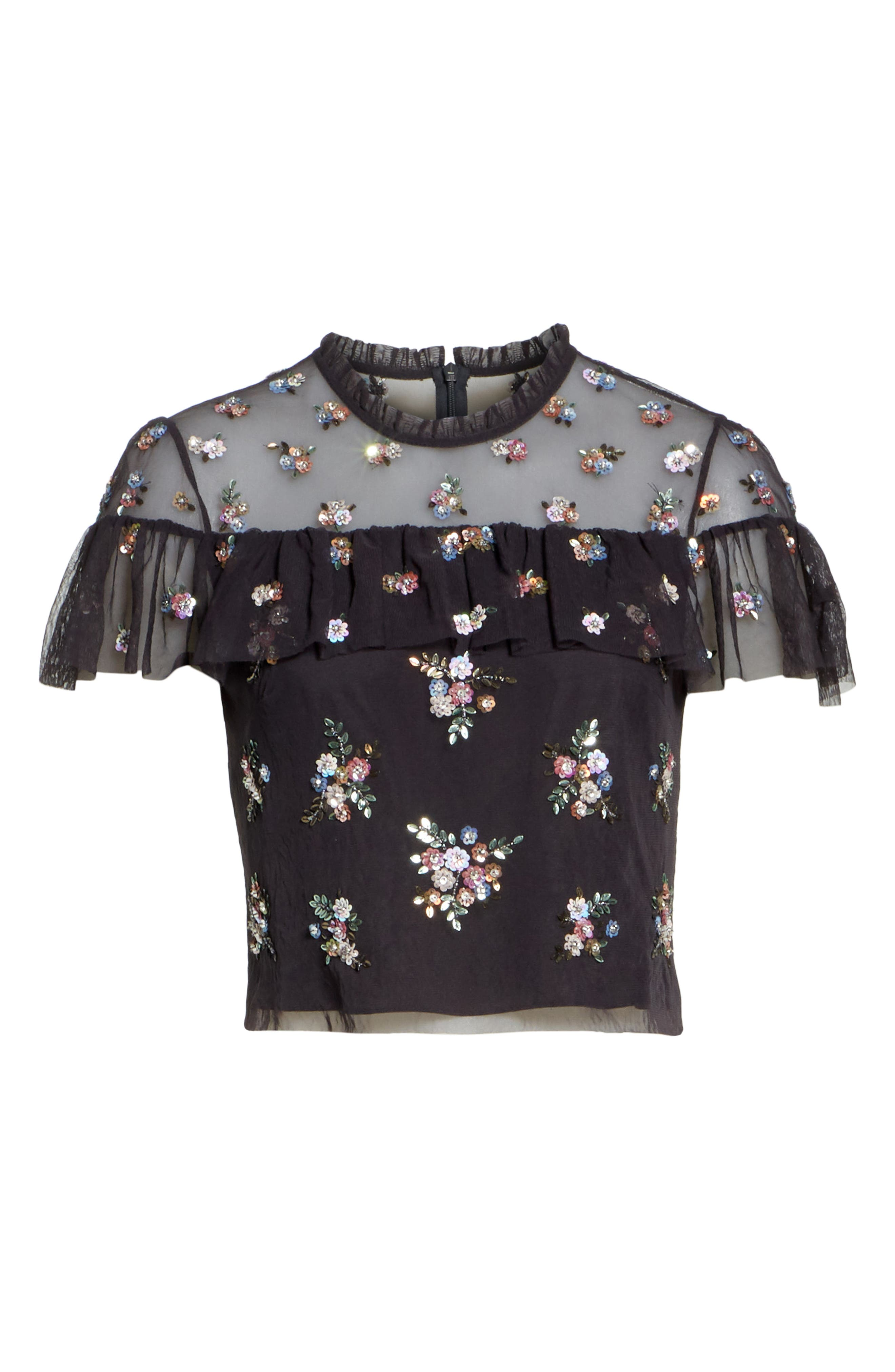 Floral Sequin Crop Top,                             Alternate thumbnail 6, color,                             Graphite