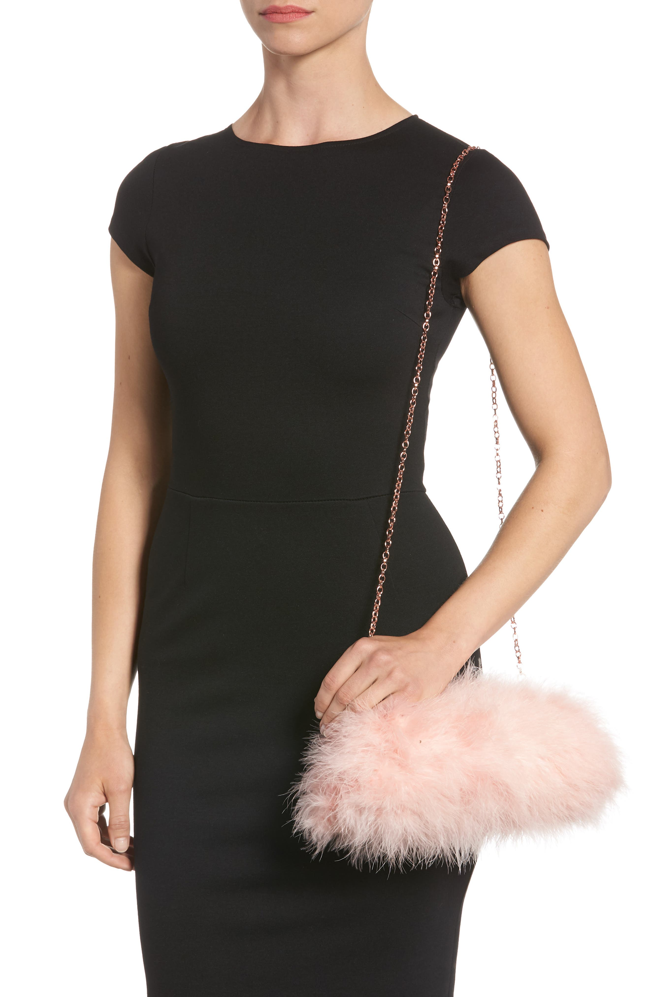 Loop Bow Feather Evening Bag,                             Alternate thumbnail 2, color,                             Light Pink