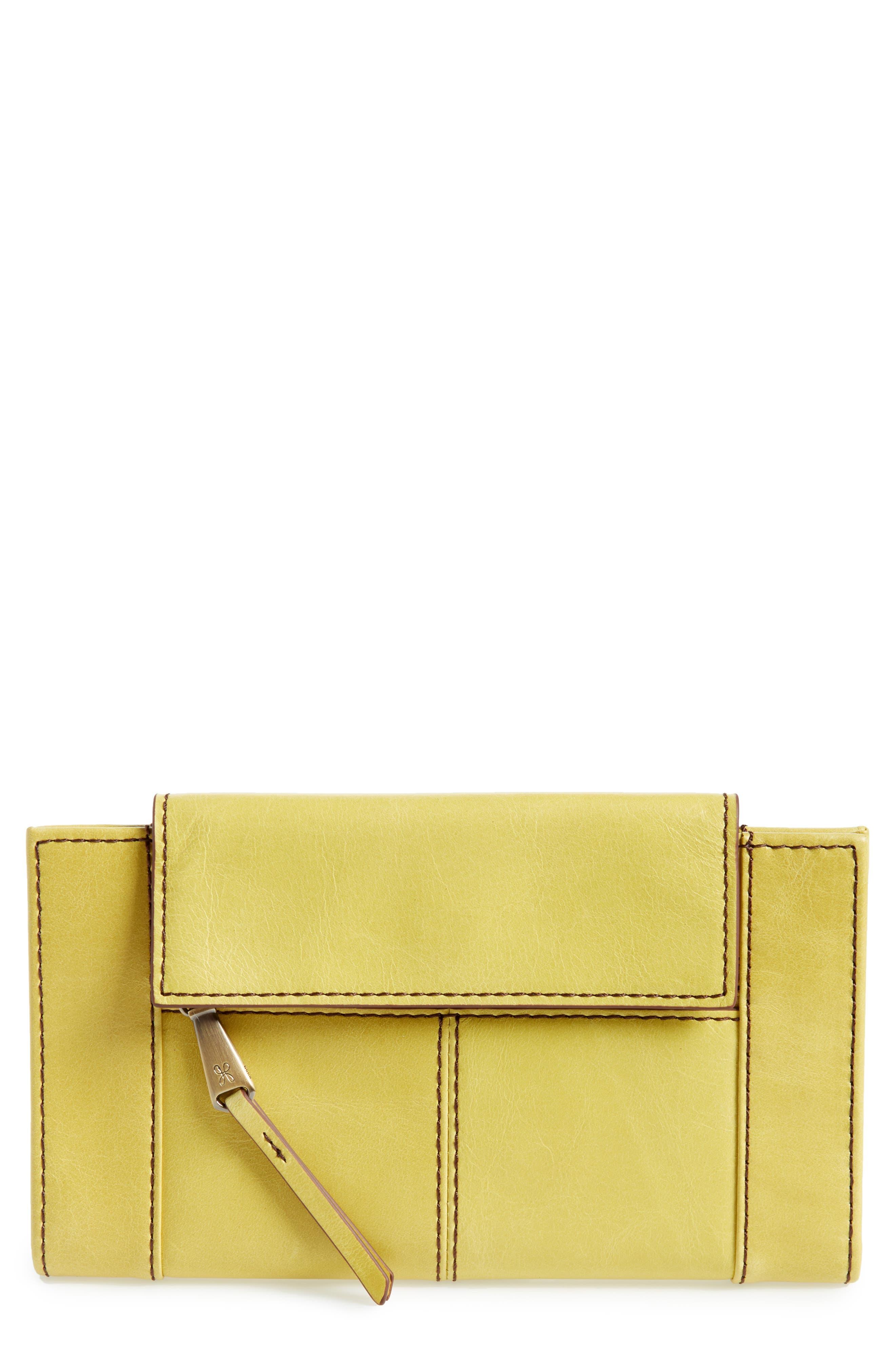 Pivot Continental Leather Wallet,                         Main,                         color, Lemongrass