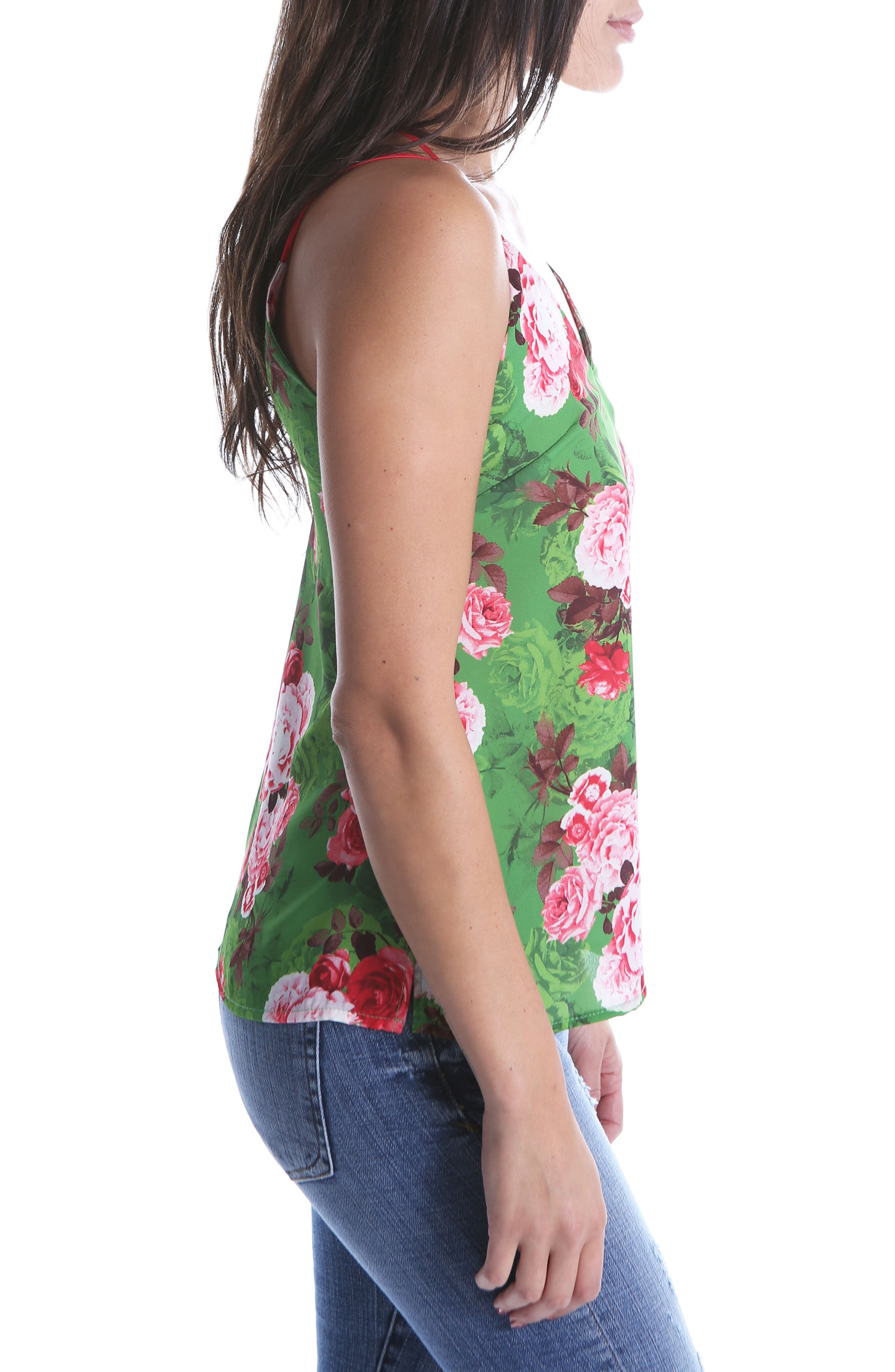 Kut From The Kloth Dana Print Camisole Top,                             Alternate thumbnail 3, color,                             Emerald
