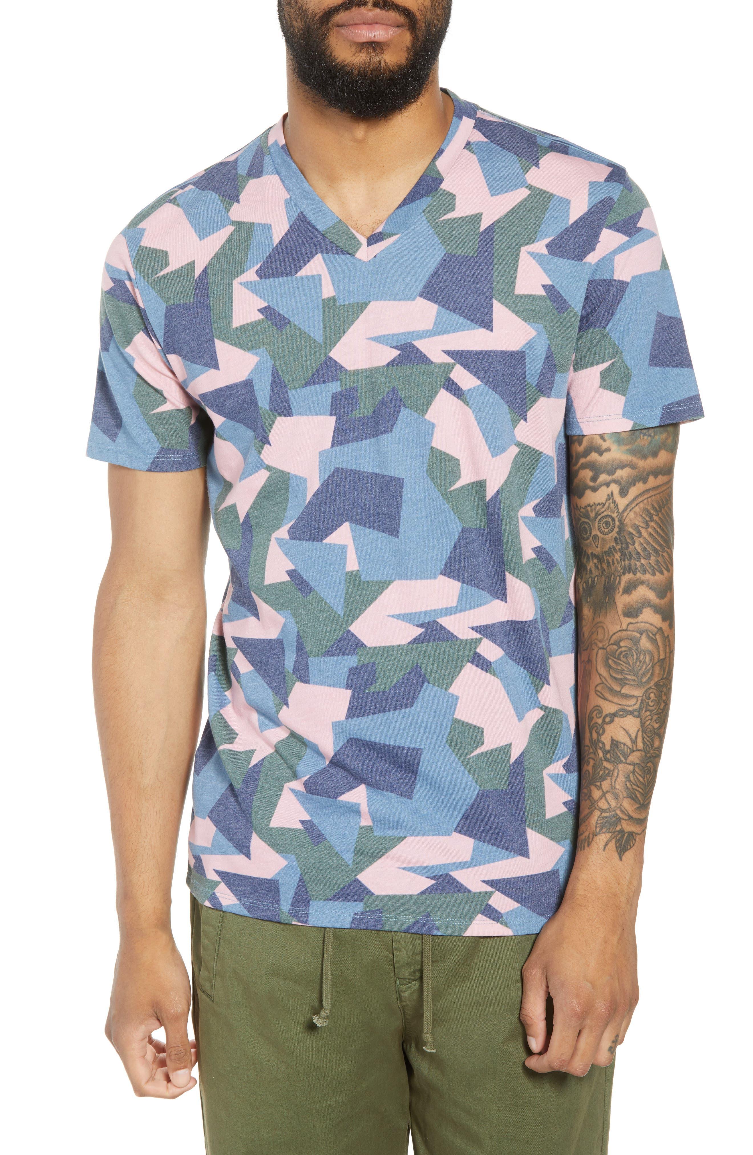 V-Neck T-Shirt,                             Main thumbnail 1, color,                             Pink / Grey Abstract Geo Camo