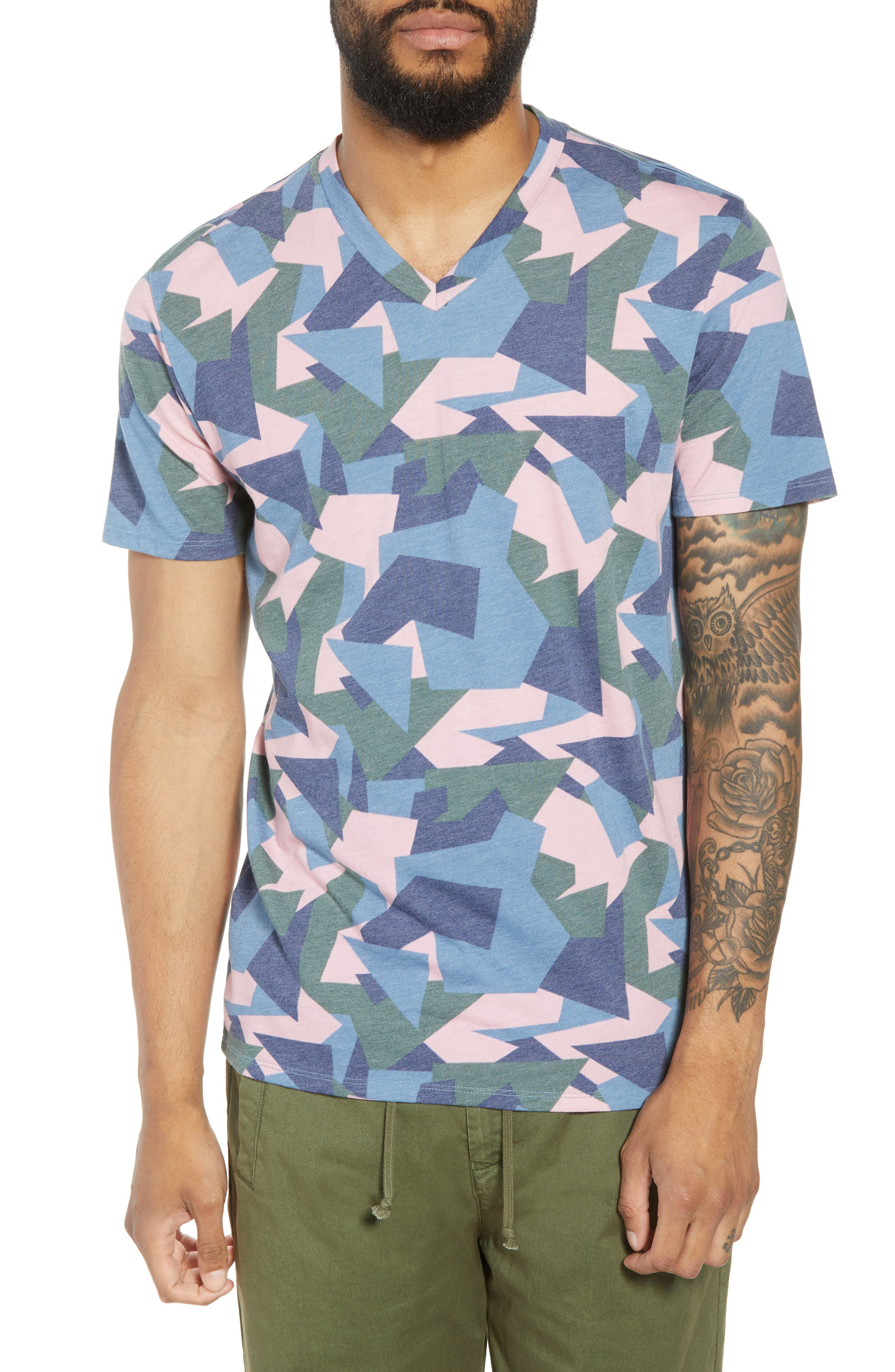 V-Neck T-Shirt,                         Main,                         color, Pink / Grey Abstract Geo Camo