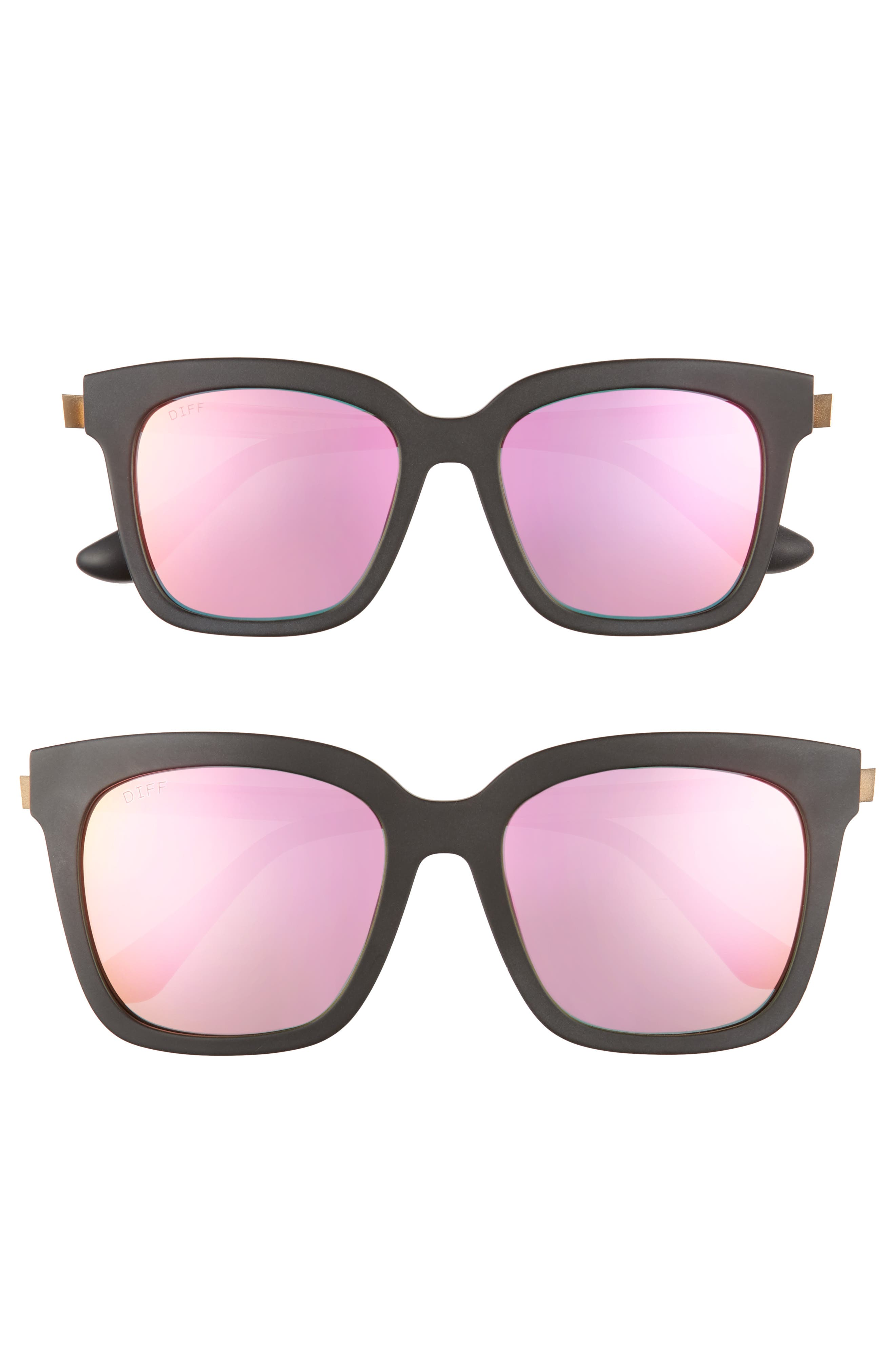 Mommy & Me Bella 2-Pack Square Sunglasses,                             Main thumbnail 1, color,                             Black/ Pink