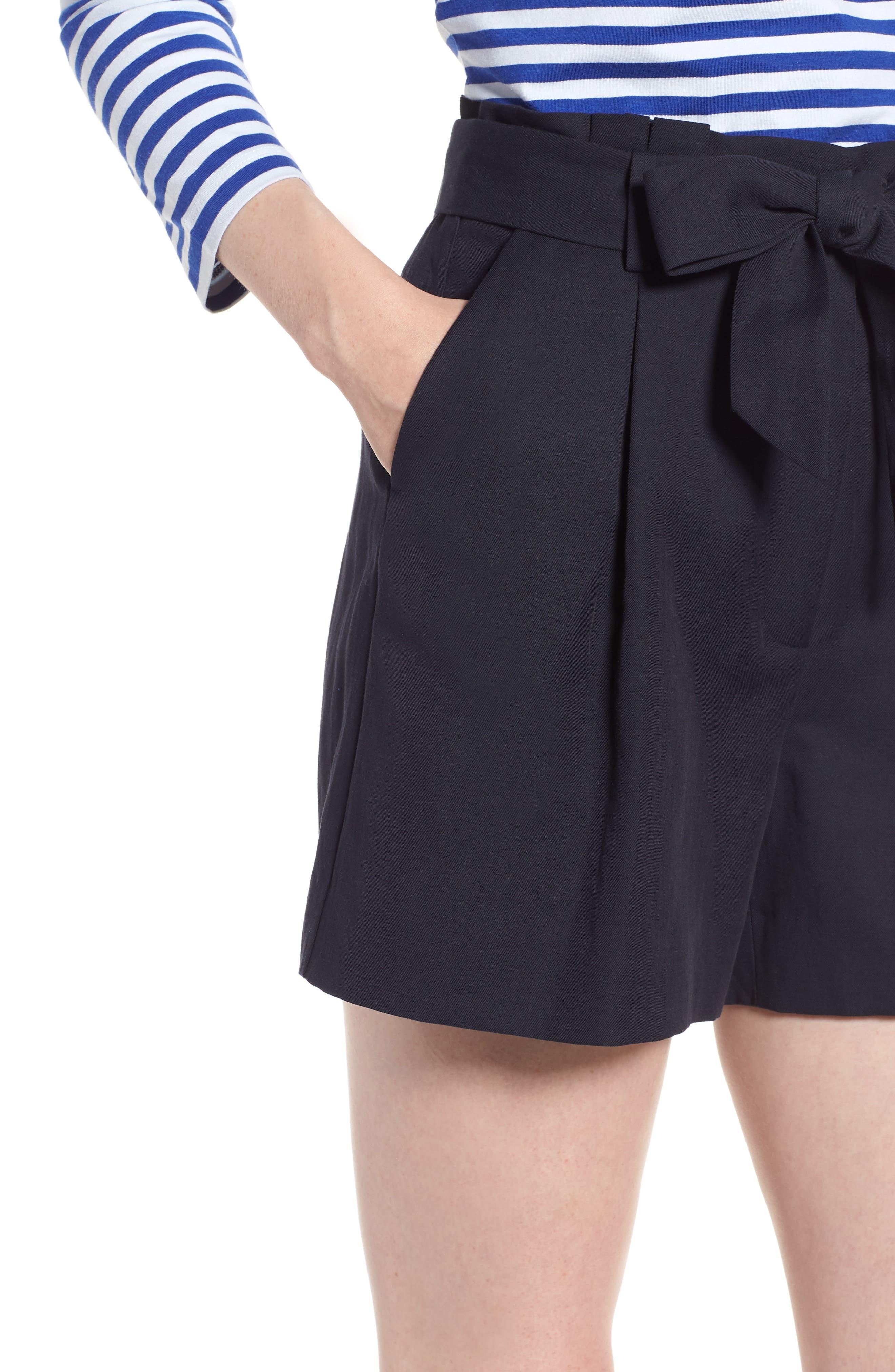 Paperbag Waist Linen & Cotton Blend Shorts,                             Alternate thumbnail 4, color,                             Navy Night