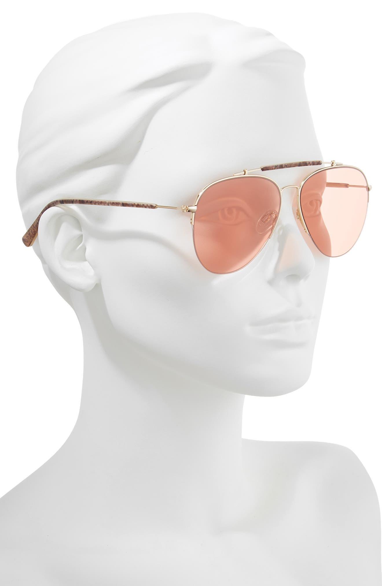 D'BLANC x Amuse Society The Last 58mm Aviator Sunglasses,                             Alternate thumbnail 2, color,                             Rattlesnake/ Persimmon