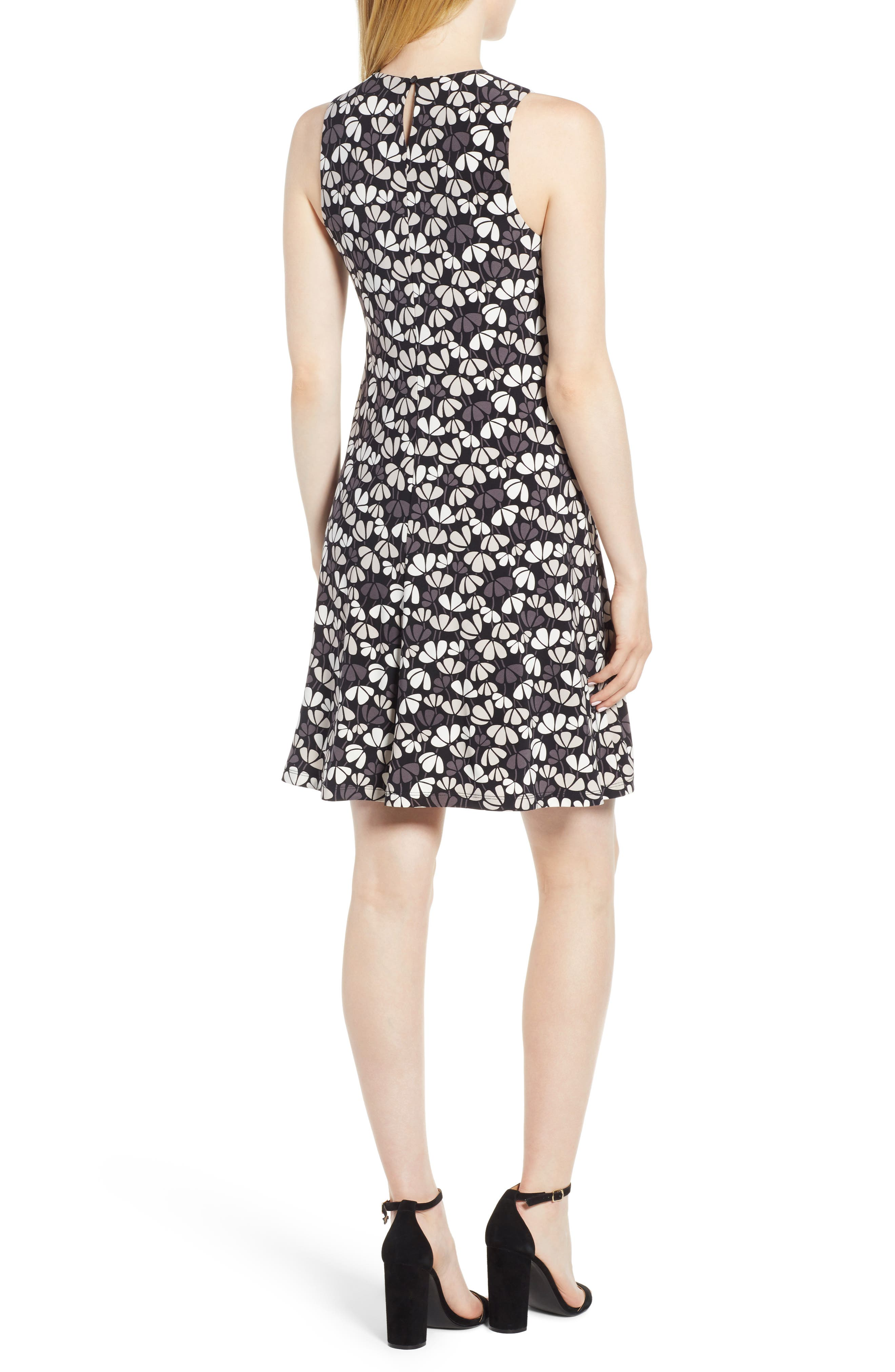 Flowerfall Stretch Knit Swing Dress,                             Alternate thumbnail 2, color,                             Black/ Oyster Shell Combo