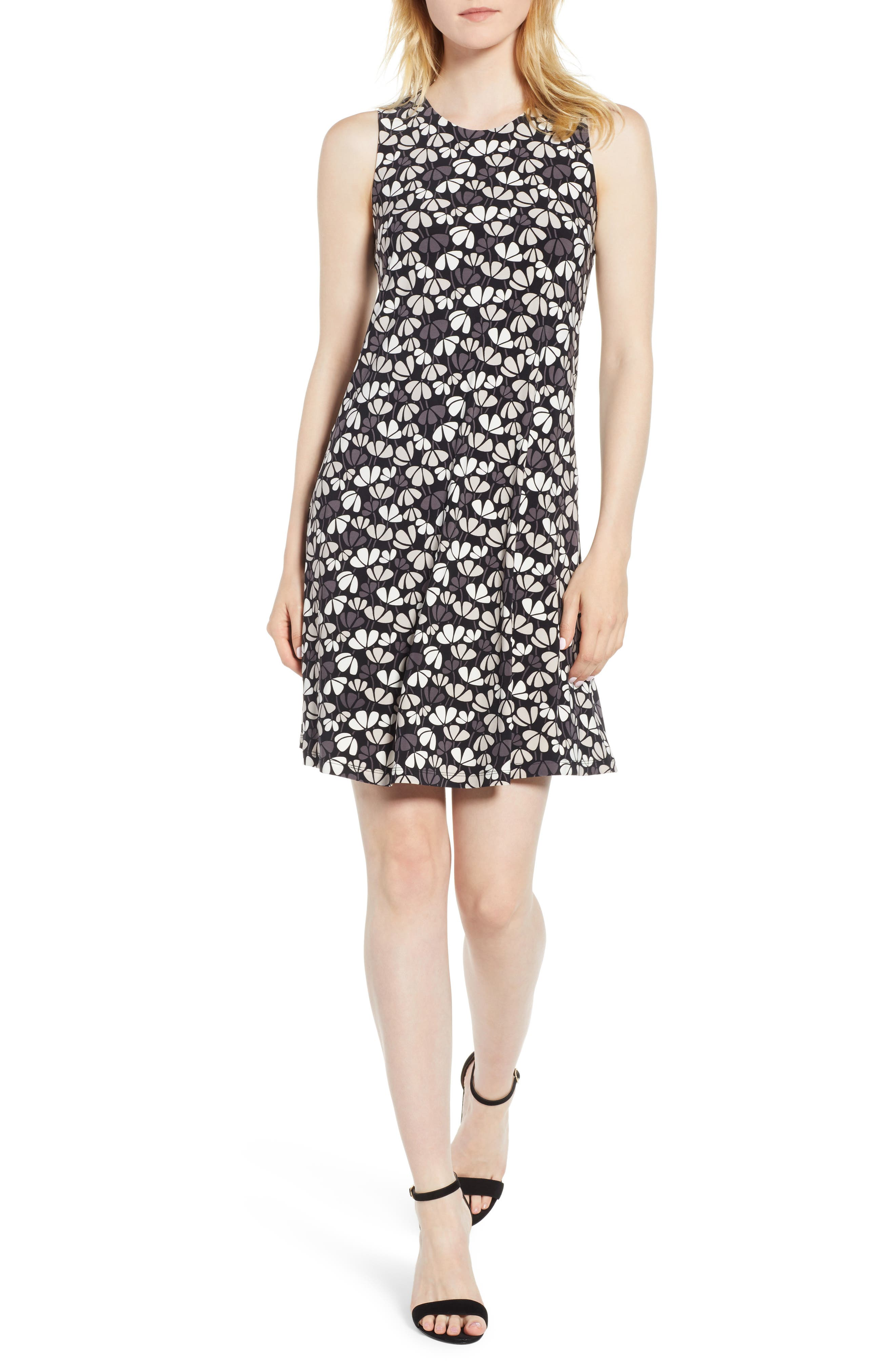 Flowerfall Stretch Knit Swing Dress,                             Main thumbnail 1, color,                             Black/ Oyster Shell Combo