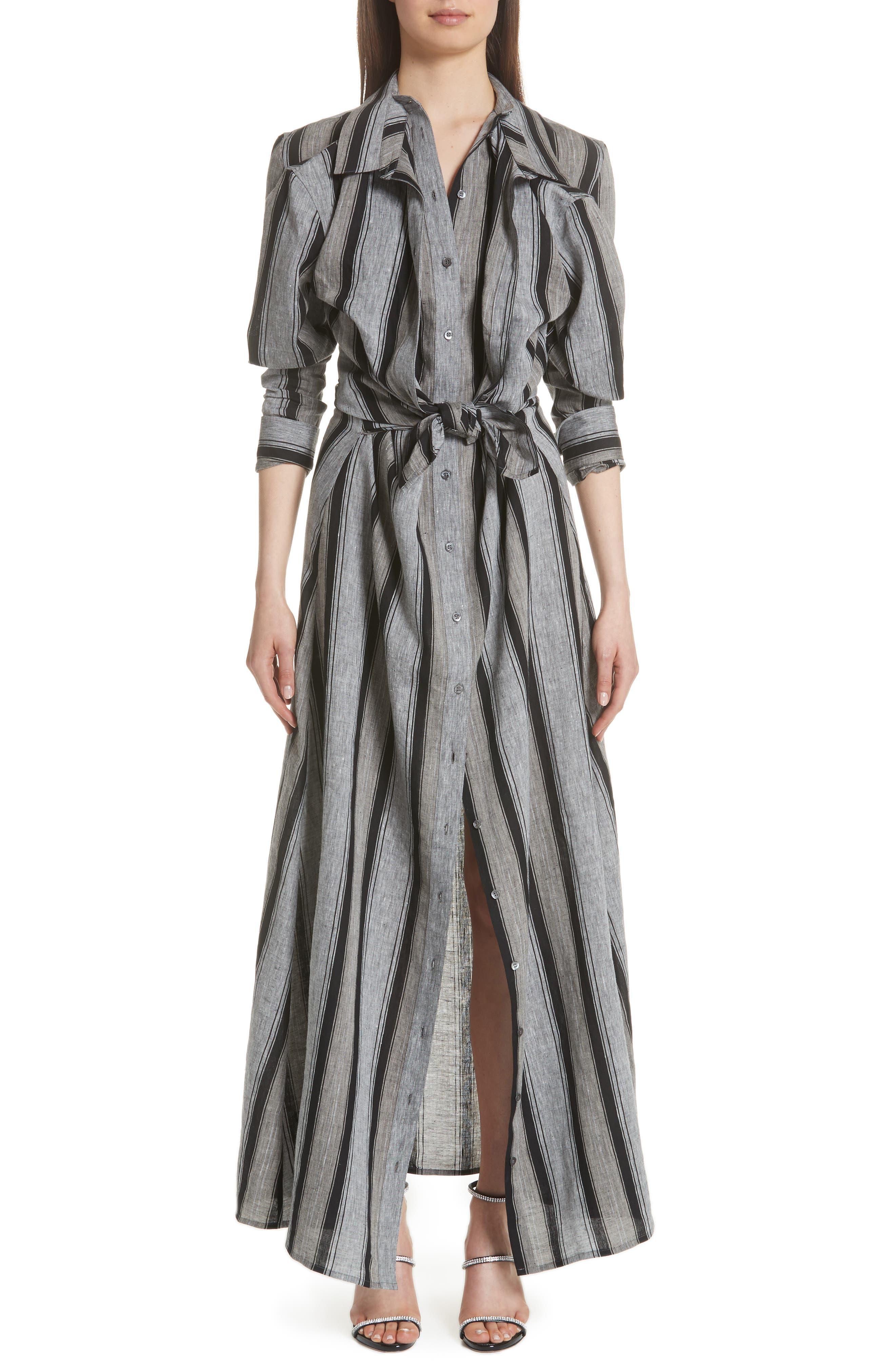 Y/Project Long Stripe Linen Shirtdress