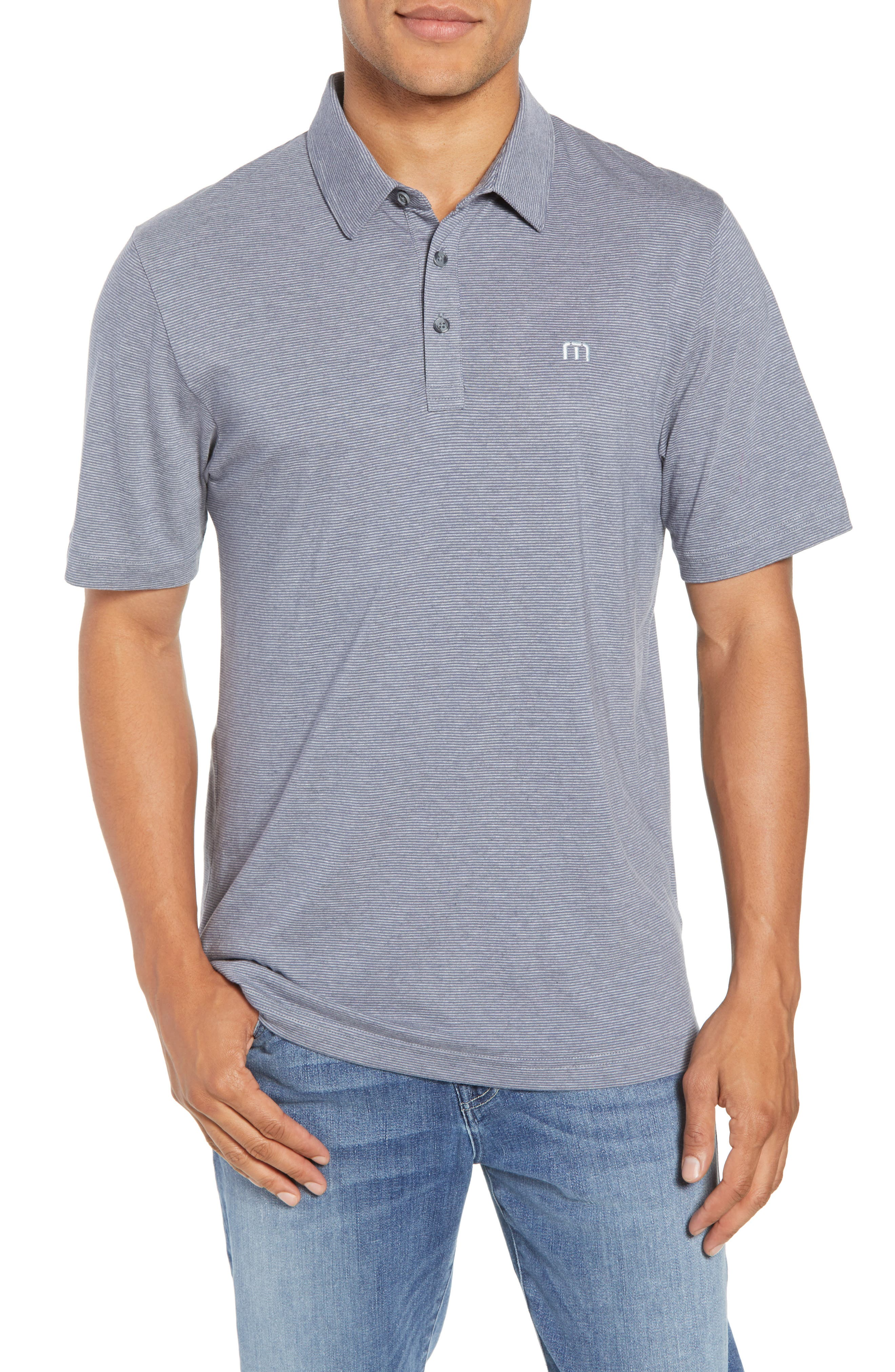 JQ Regular Fit Stripe Polo,                             Main thumbnail 1, color,                             Heather Grisaille