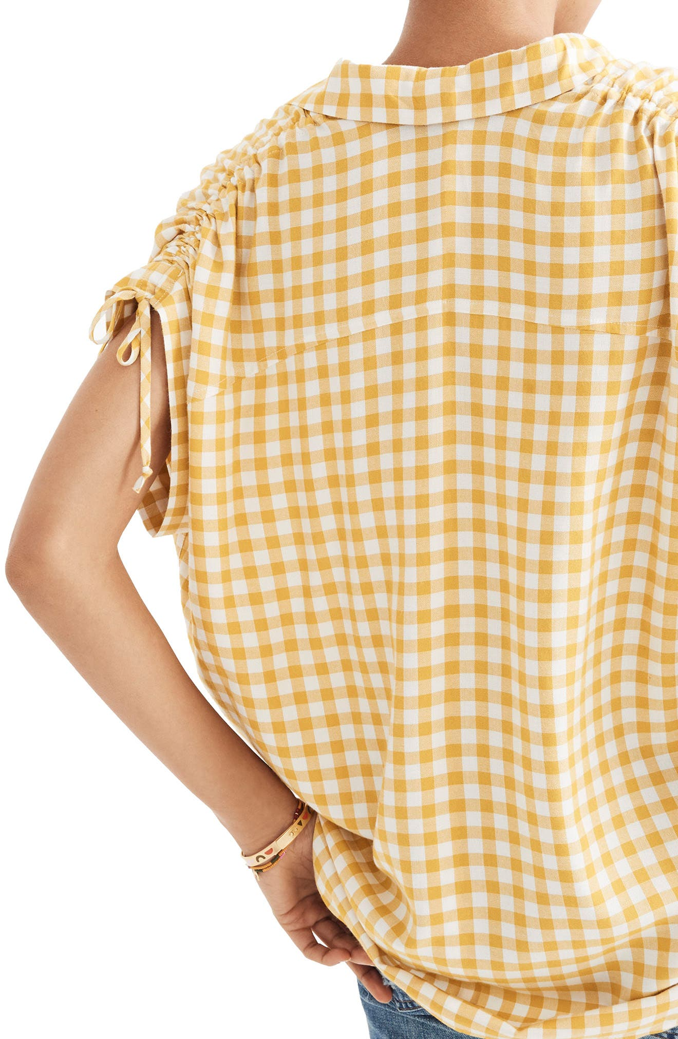 Central Ruched Sleeve Shirt,                             Alternate thumbnail 2, color,                             Celestial Gold