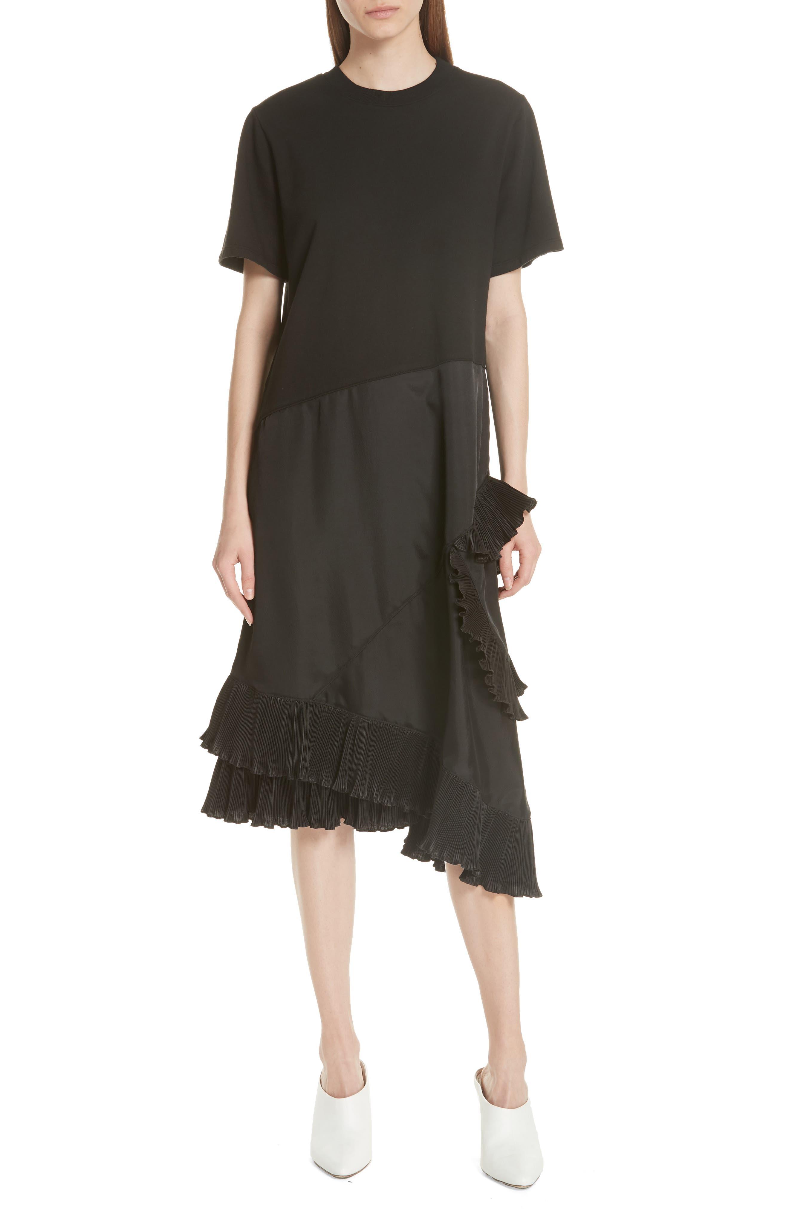 Pleat Ruffle Trim Asymmetrical Dress,                         Main,                         color, Black/ Black