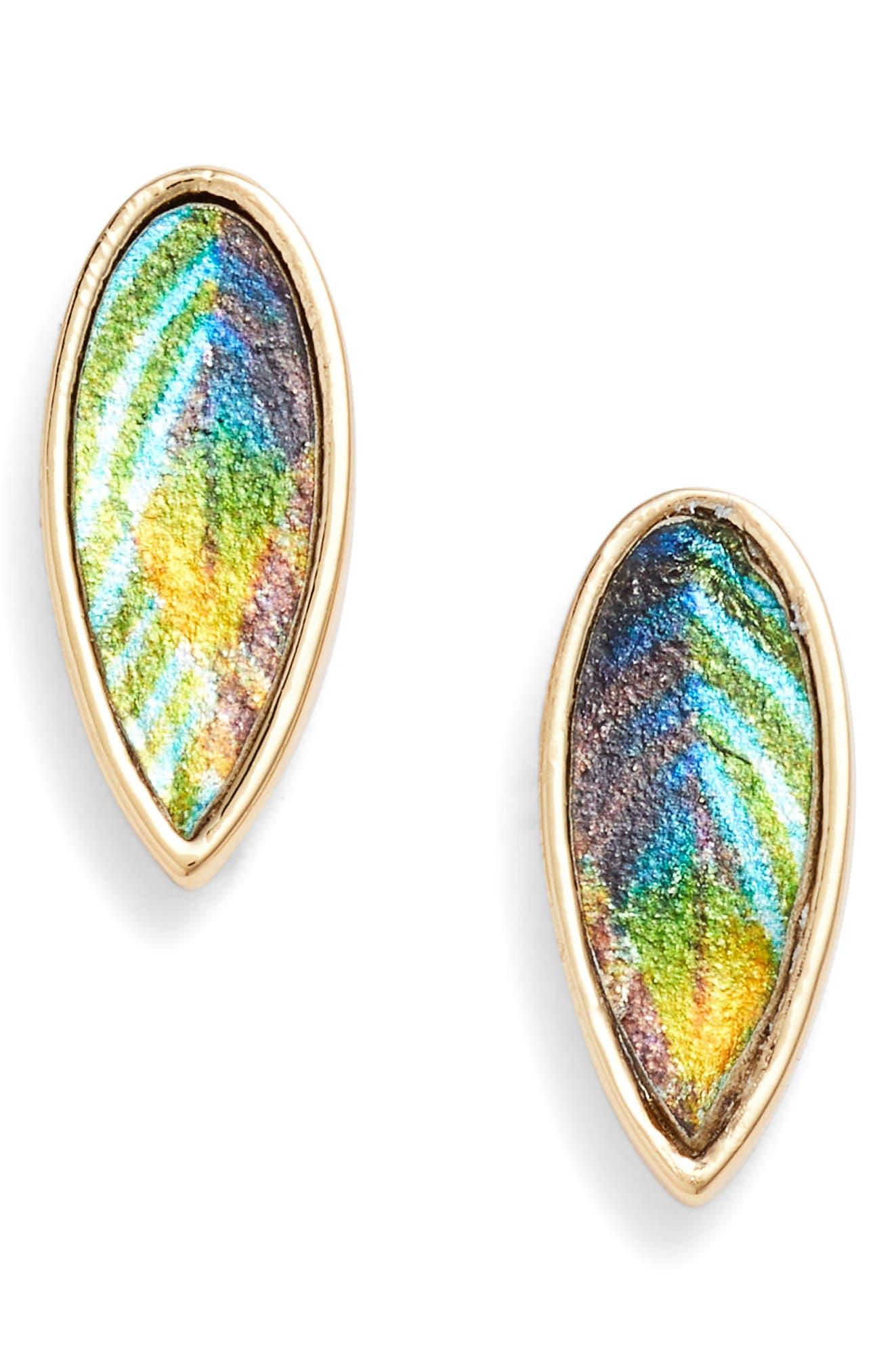 Metallic Leather Leaf Stud Earrings,                         Main,                         color, Gold