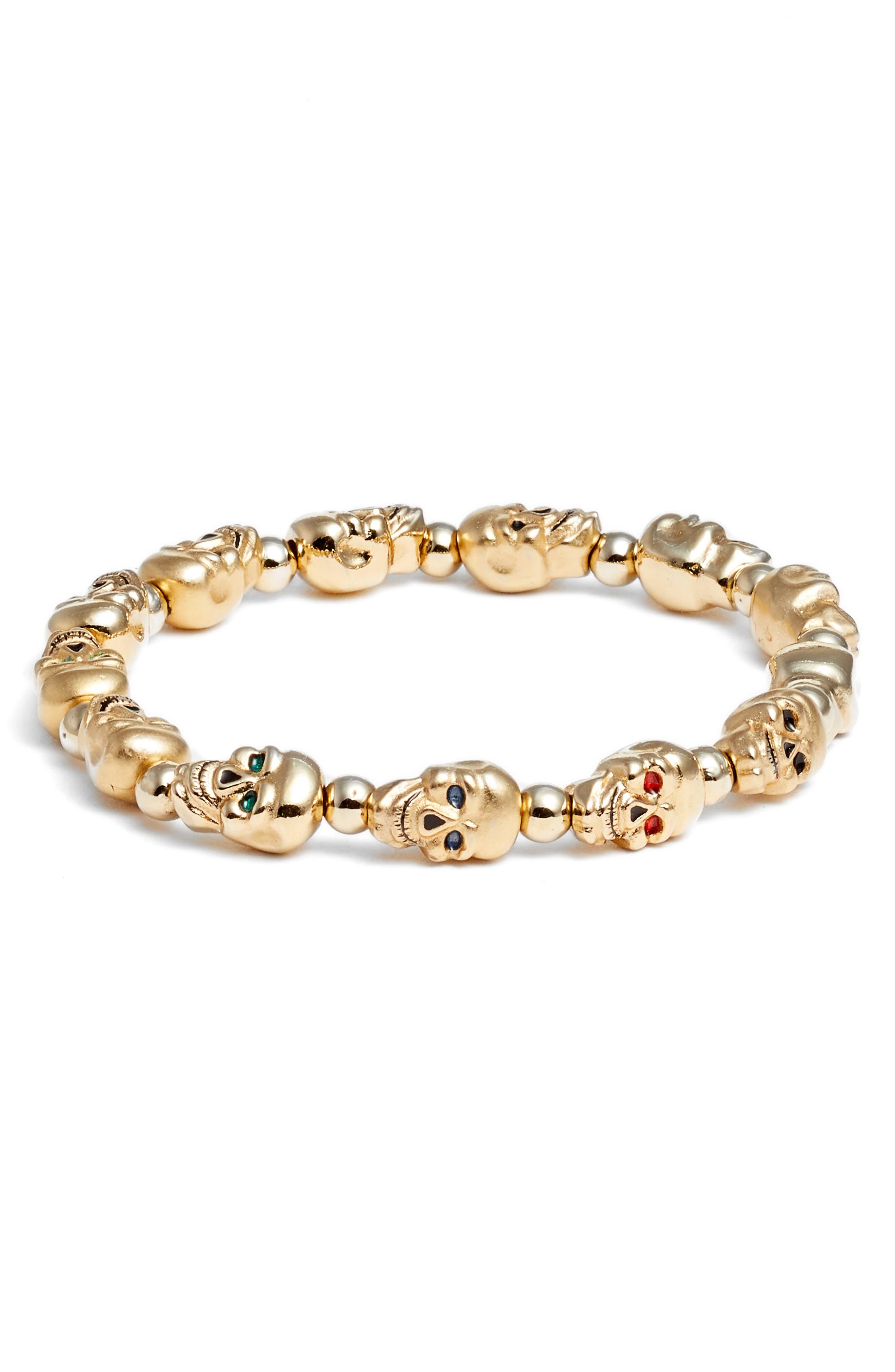 Lucky Skulls Stretch Bracelet,                         Main,                         color, Gold