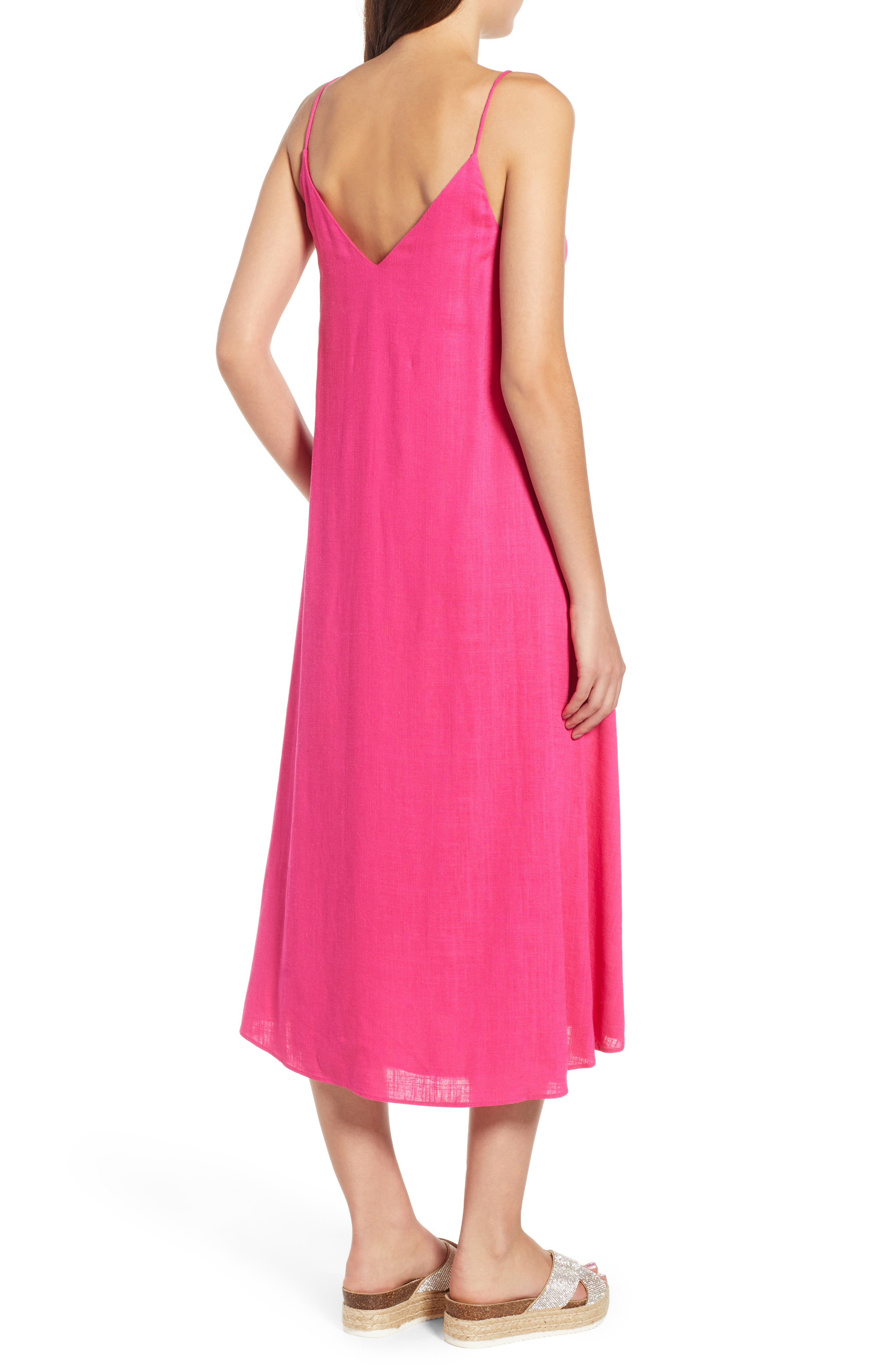 Trapeze Dress,                             Alternate thumbnail 3, color,                             Fuchsia