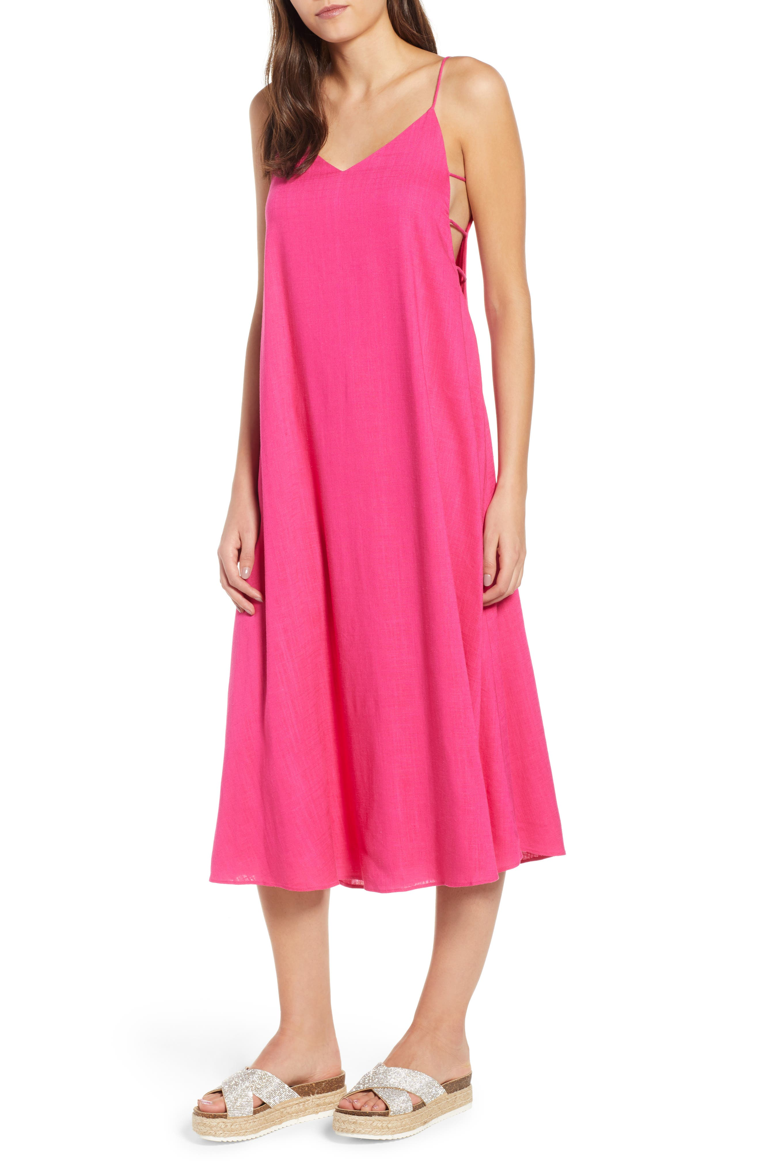 Trapeze Dress,                         Main,                         color, Fuchsia